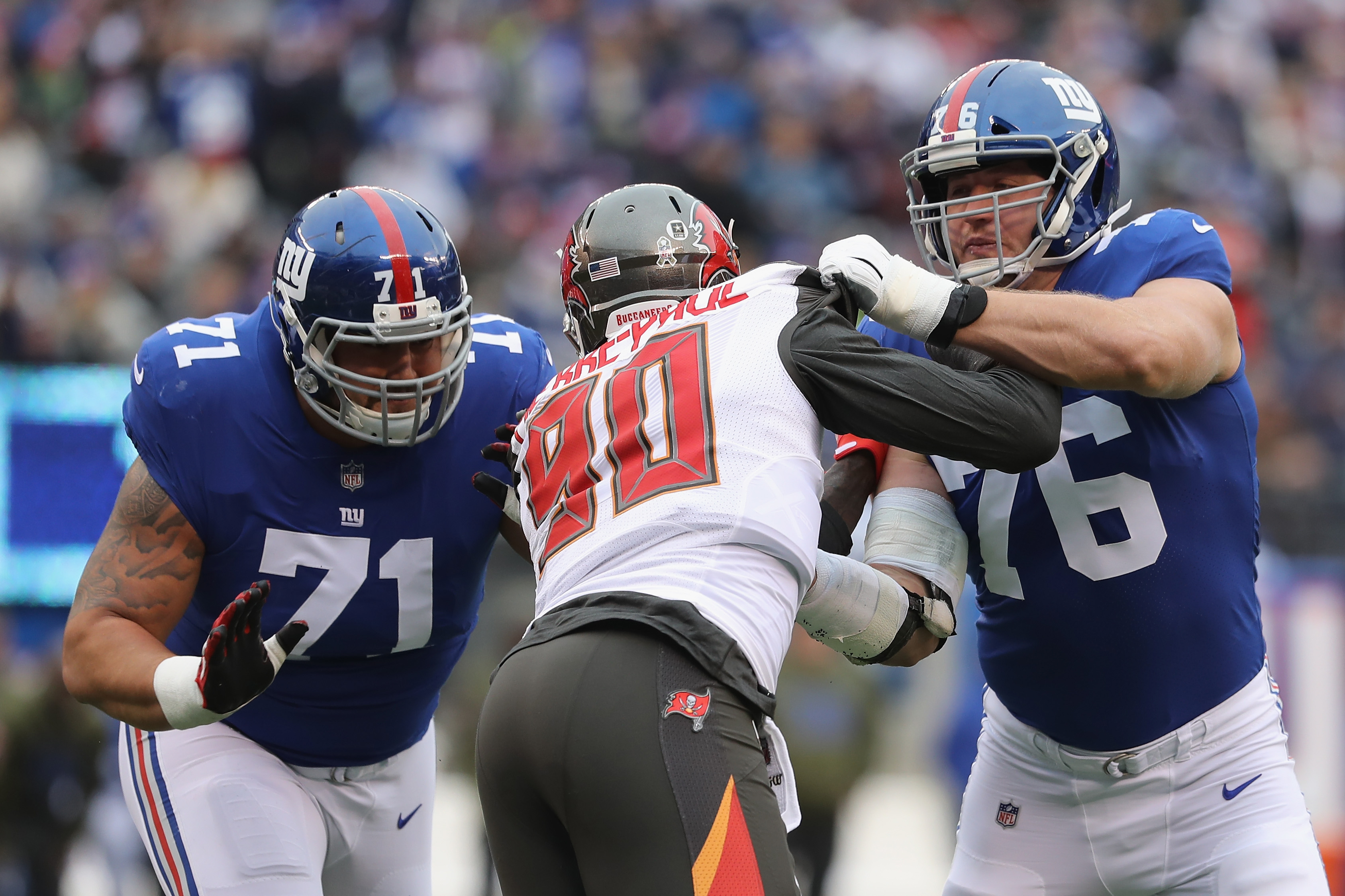 Nate Solder helping to block during an NFL game