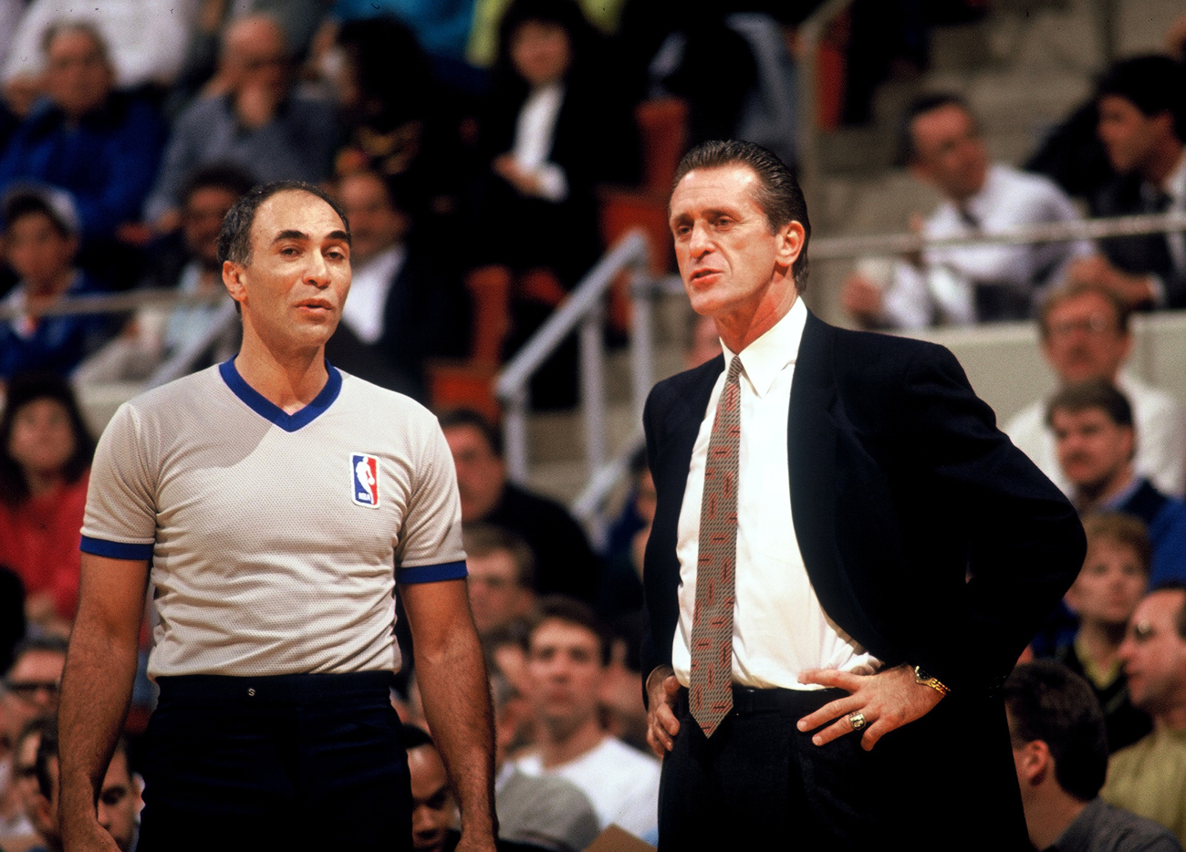 Pat Riley coaching a game for the Knicks talking to a referee
