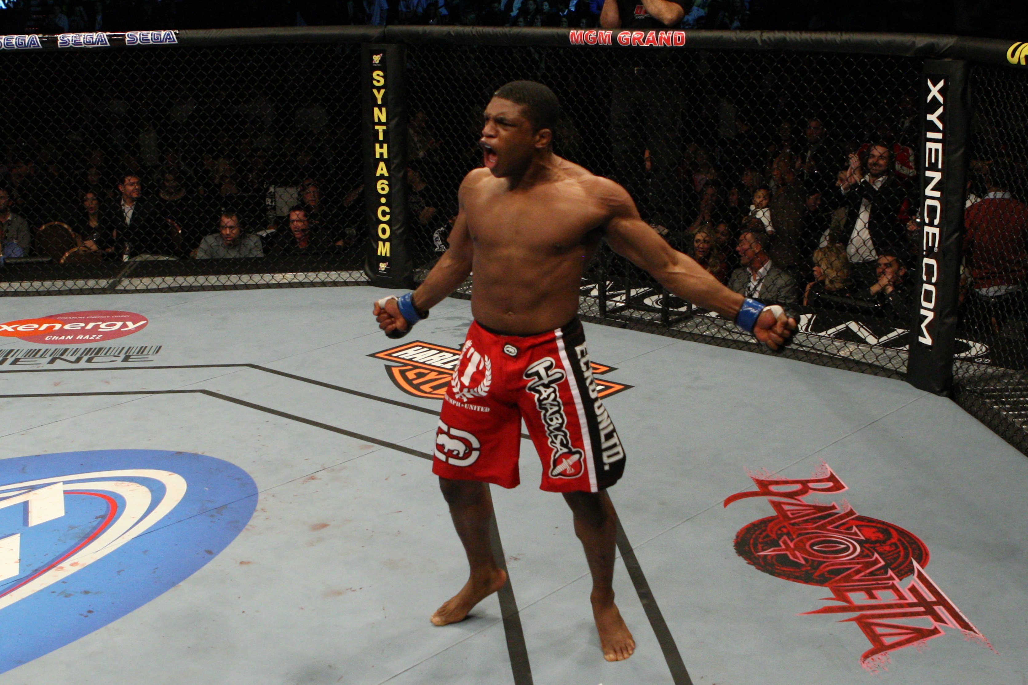 Paul Daley celebrates after a UFC win