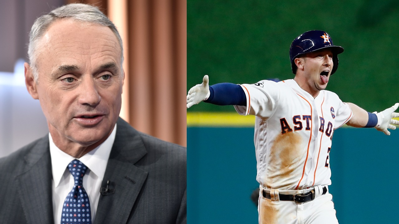 Does MLB commissioner Rob Manfred (L) need to speak out so Astros players like Alex Bregman aren't injured by an intentional hit-by-pitch?