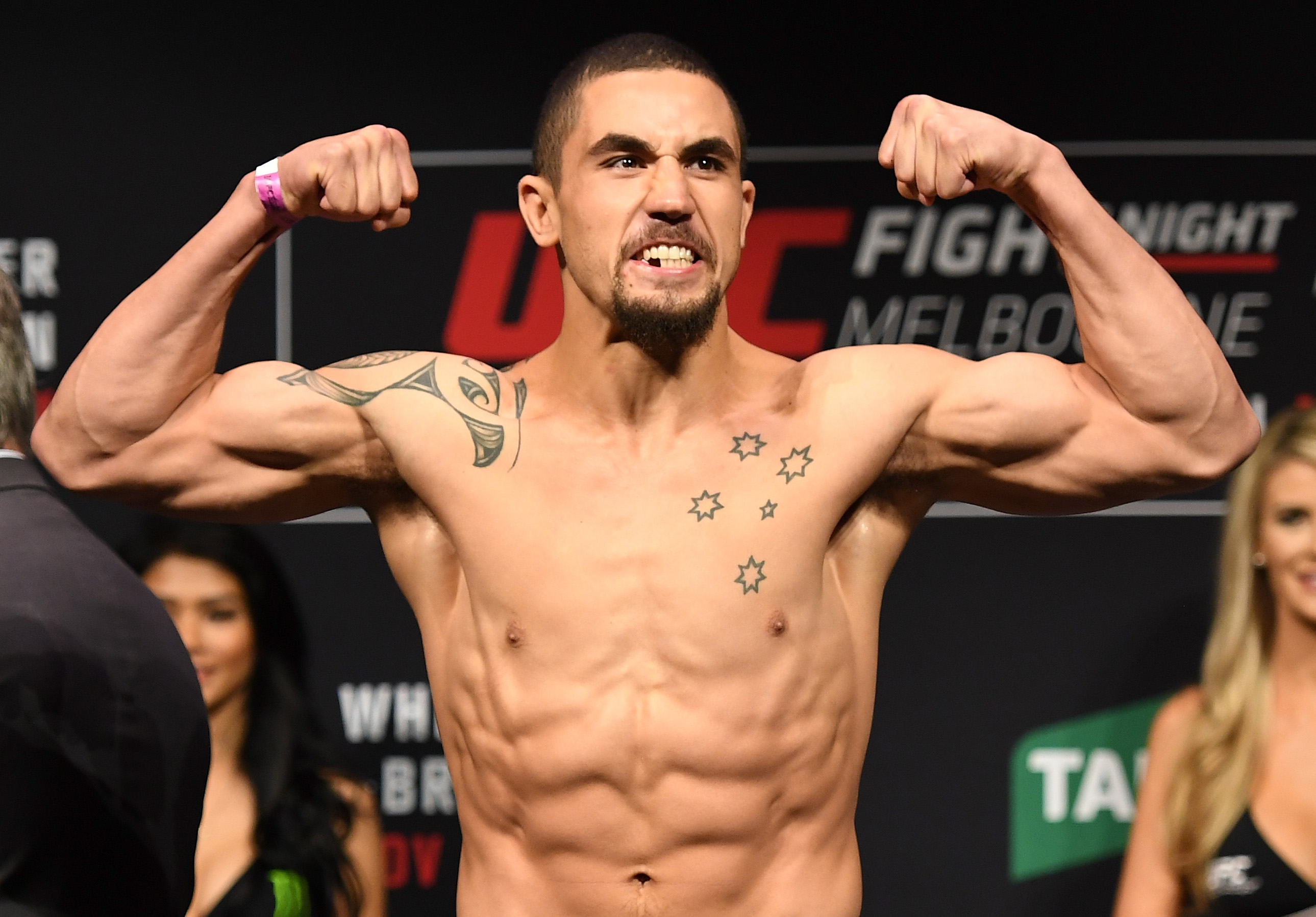Robert Whittaker weighing in for a UFC fight