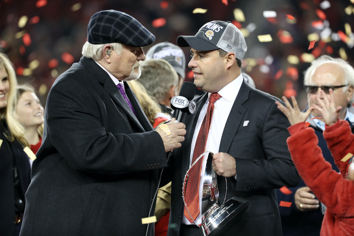 San Francisco 49ers owner Jed York is interviewed by Terry Bradshaw after the Super Bowl