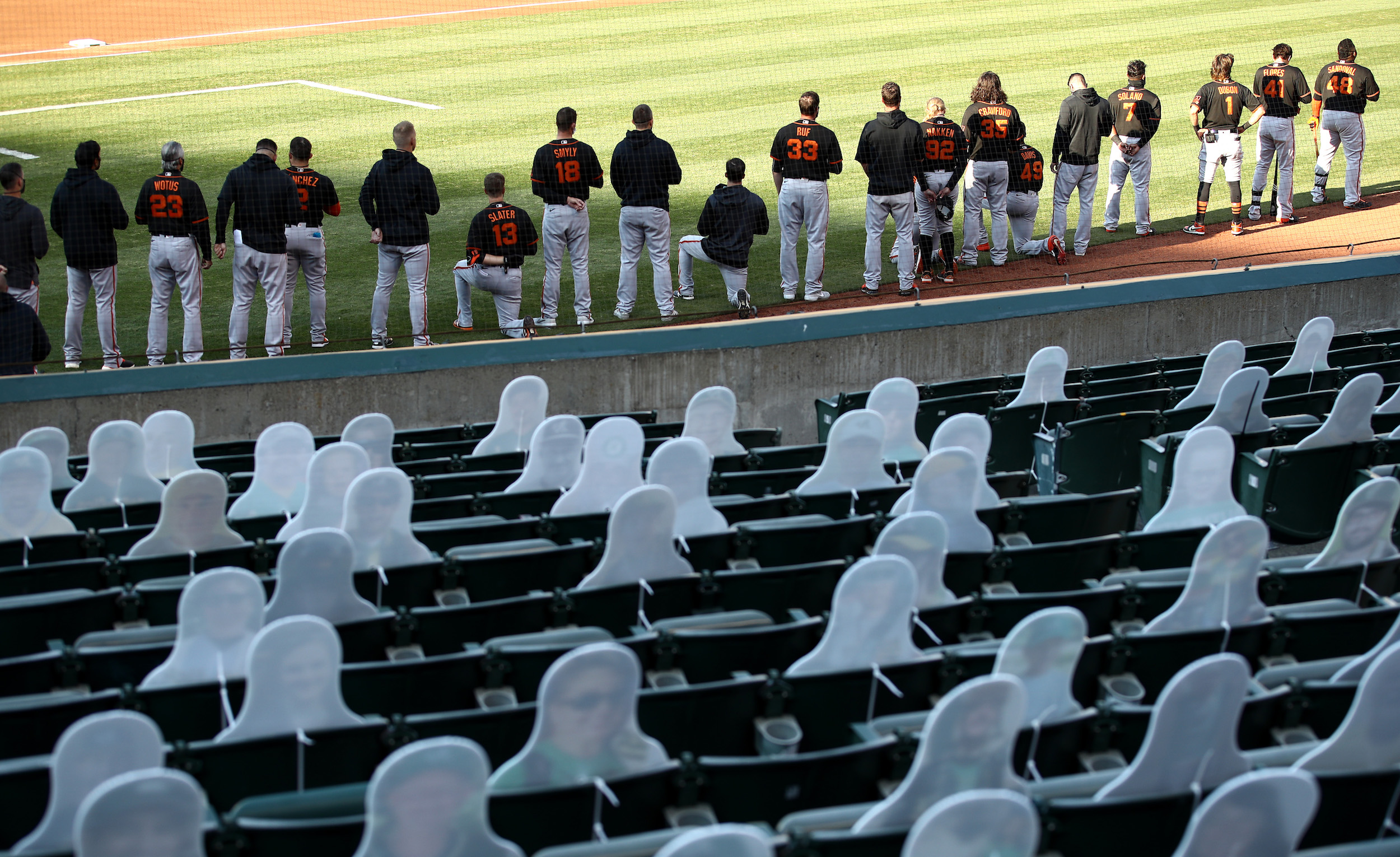 Donald Trump and Aubrey Huff blasted the San Francisco Giants for kneeling during the national anthem.