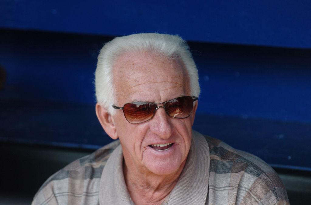 Sportscaster Bob Uecker with the Milwaukee Brewers