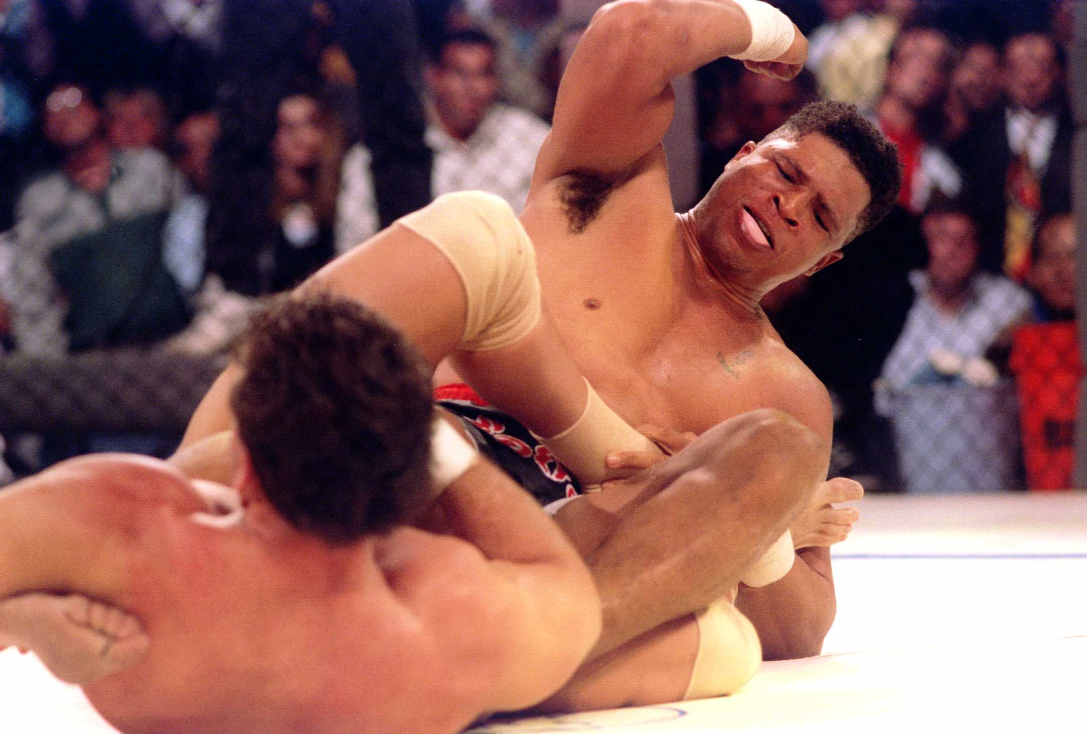 Patrick Smith and Ken Shamrock fighting at UFC 1