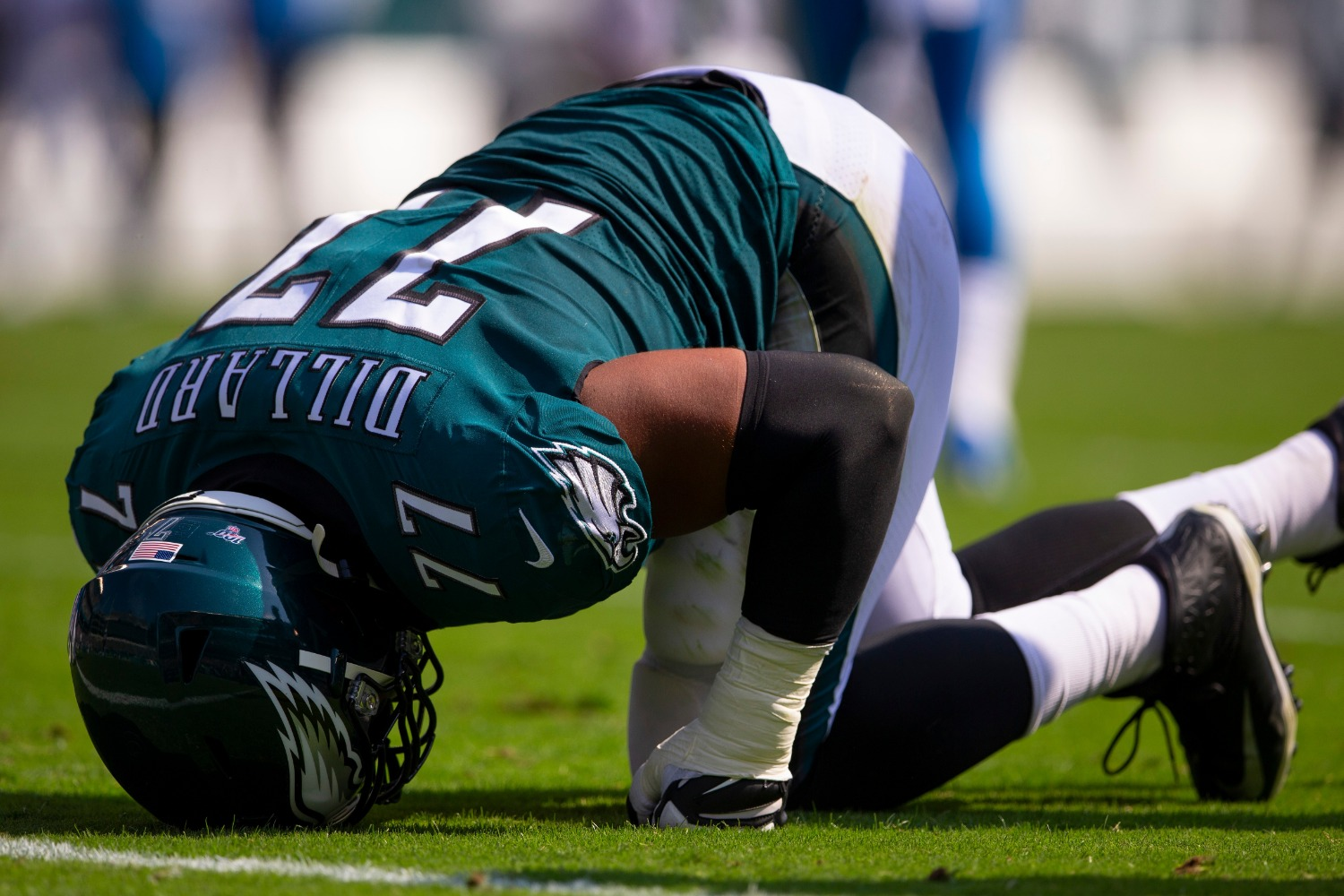 Carson Wentz and the Eagles just suffered a brutal blow to their Super Bowl chances with left tackle Andre Dillard suffering a biceps tear.