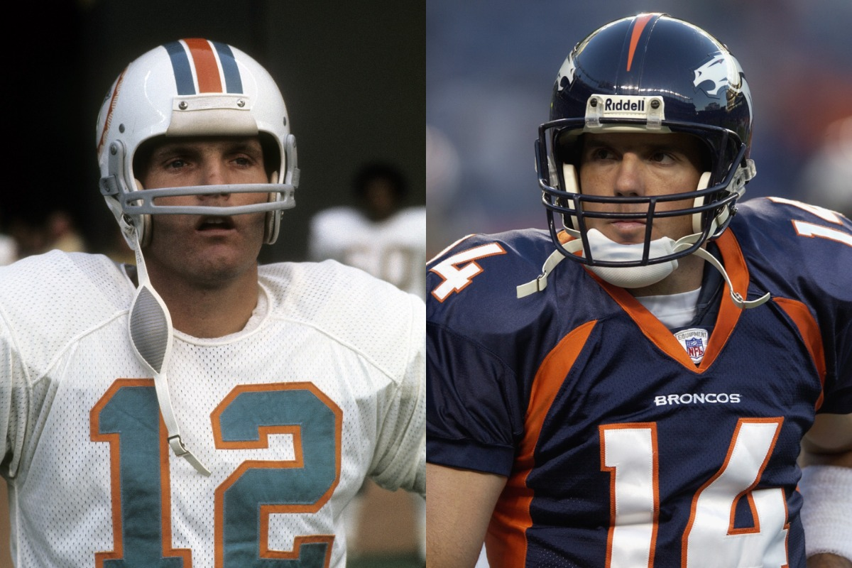 Bob Griese (L) played for the Miami Dolphins from 1967-80. His son, Brian, quarterbacked numerous teams from 1998-2008.