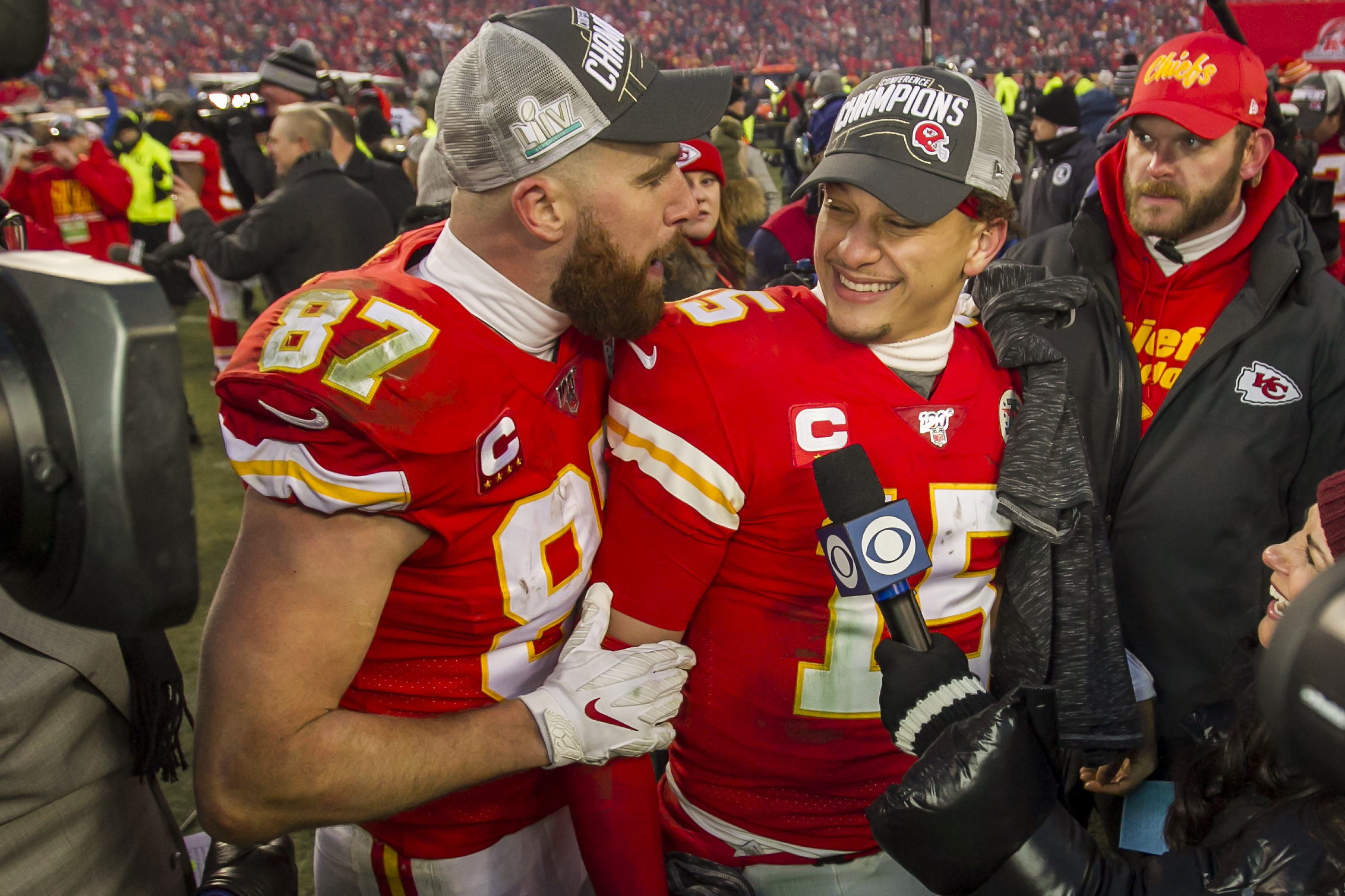 The Chiefs' Travis Kelce and Patrick Mahomes