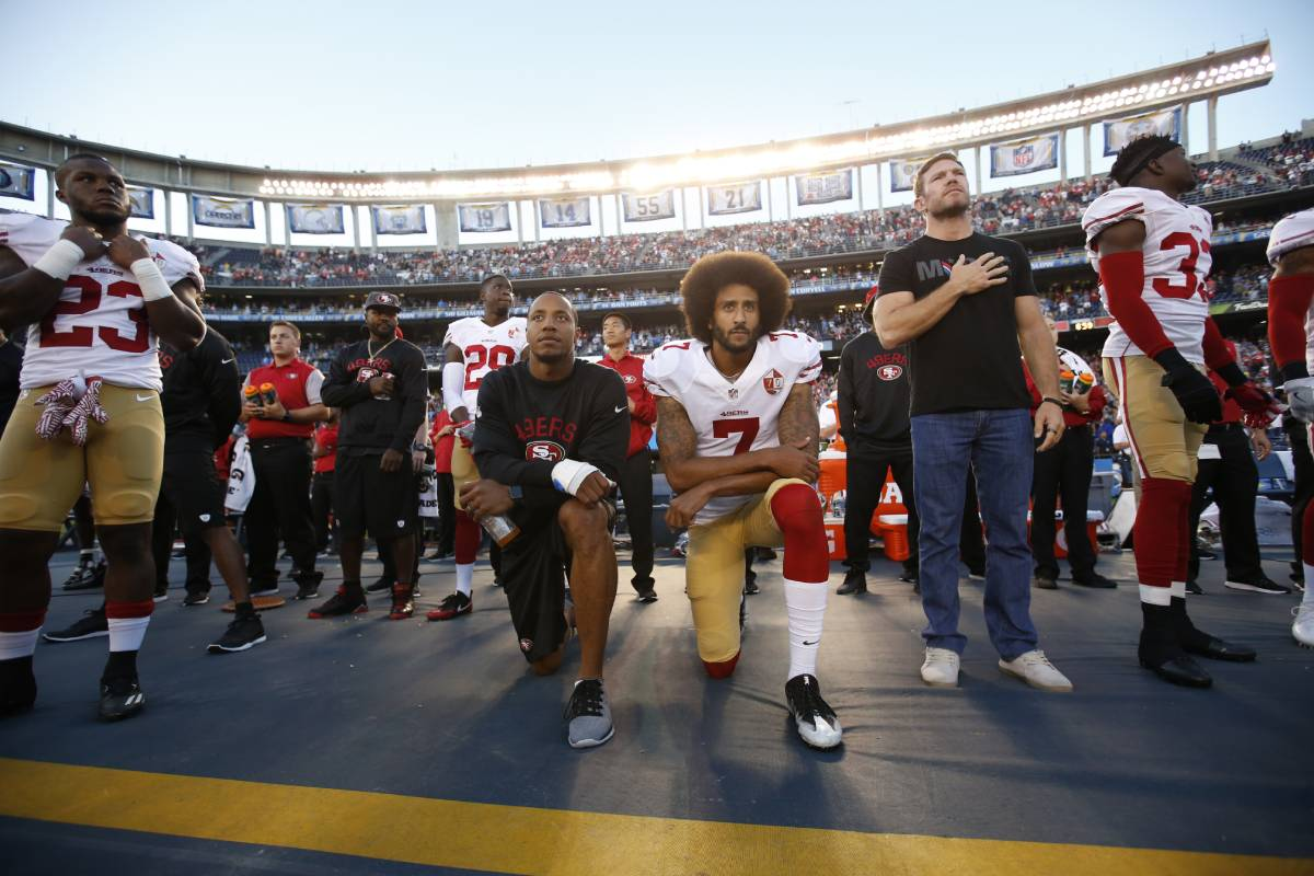 Former San Francisco 49ers quarterback Colin Kaepernick (7) began protesting the national anthem in August 2016. He took a knee for the first time that September.
