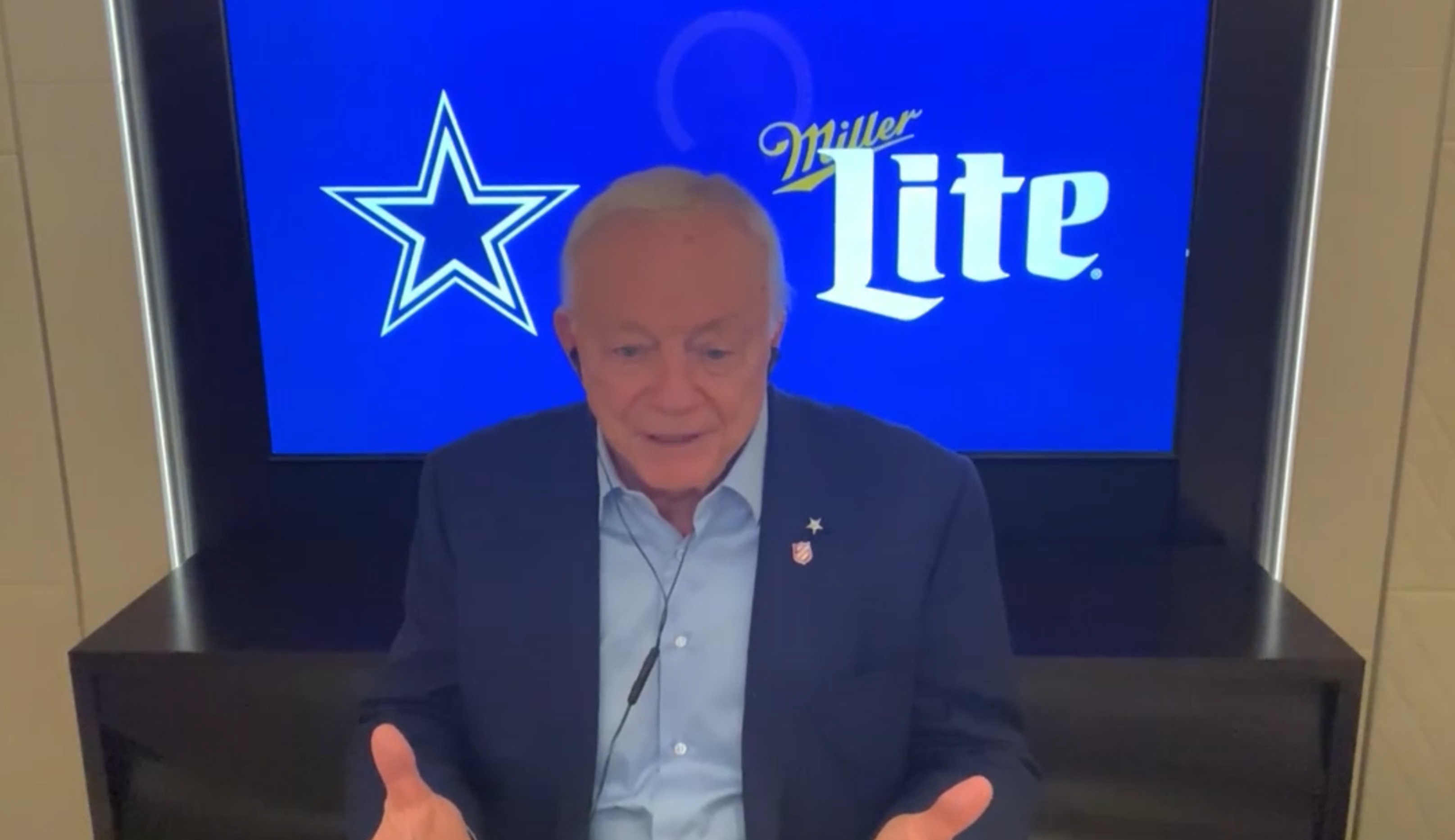 Jerry Jones speaks via teleconference