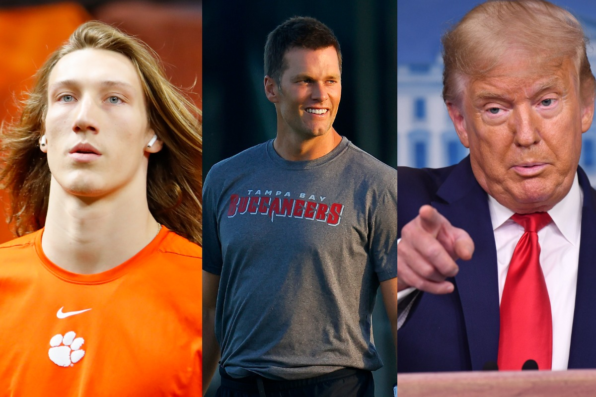 Clemson quarterback Trevor Lawrence (L) is following Tom Brady's footsteps (M) by building a relationship with President Donald Trump.