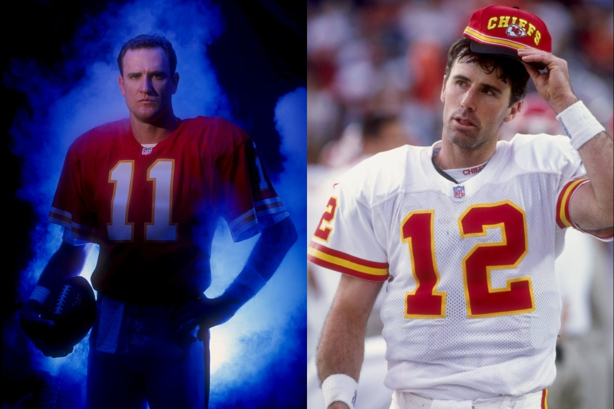 Elvis Grbac (L) and Rich Gannon each played quarterback for the Kansas City Chiefs in the 1990s.