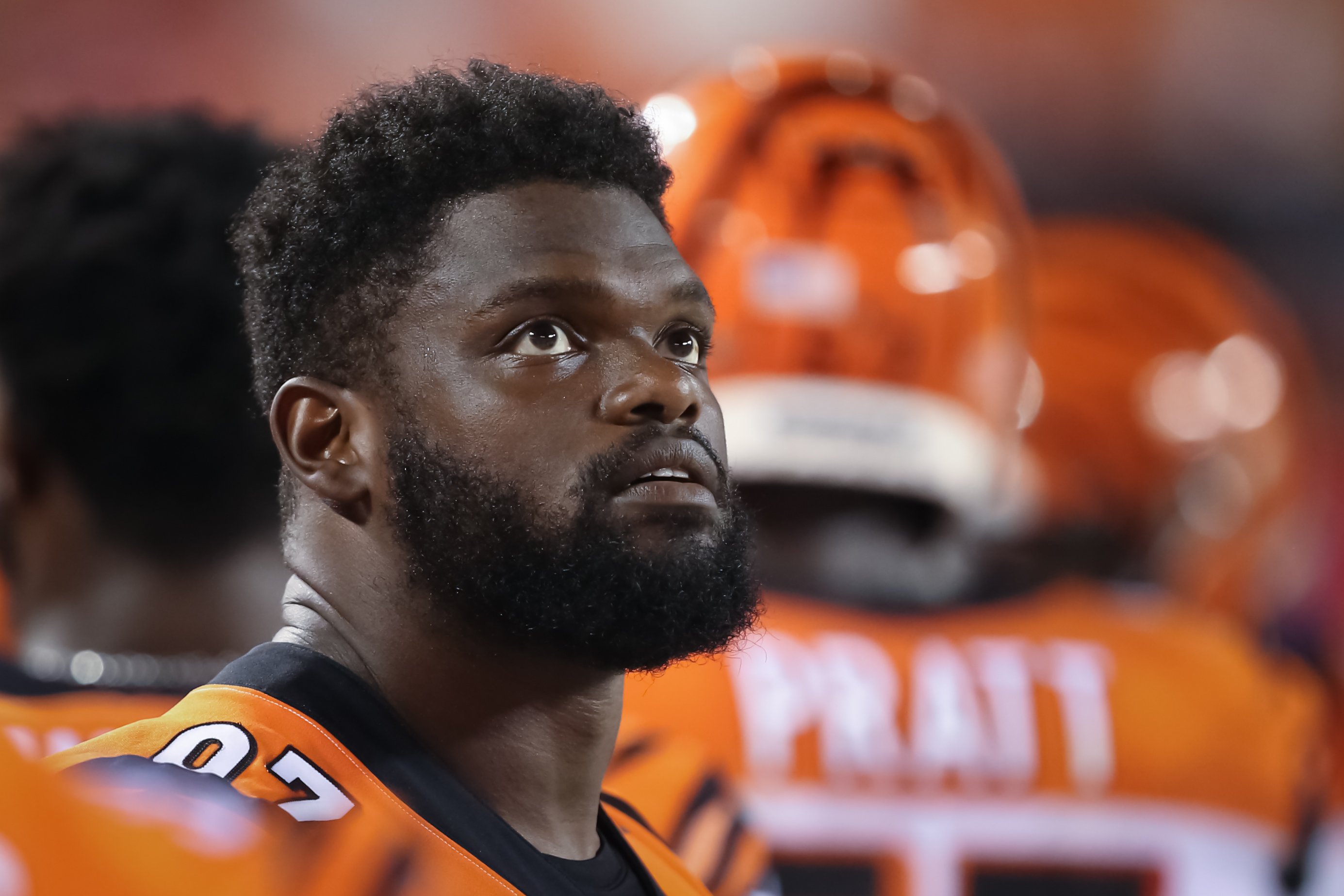 Geno Atkins looking on from the sideline