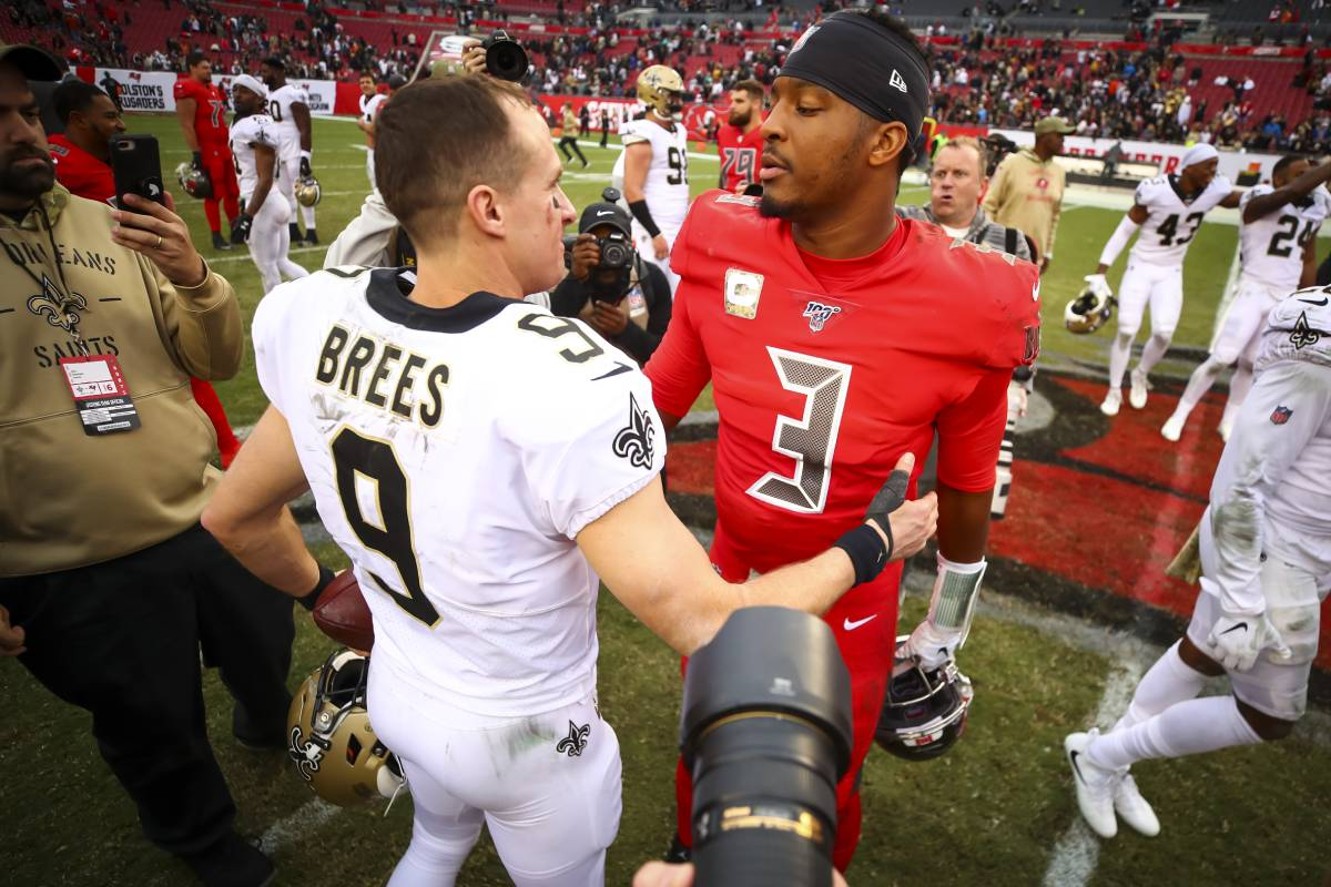 Drew Brees (L) and Jameis Winston faced off plenty of times when Winston played in Tampa Bay. The two are now teammates in New Orleans.