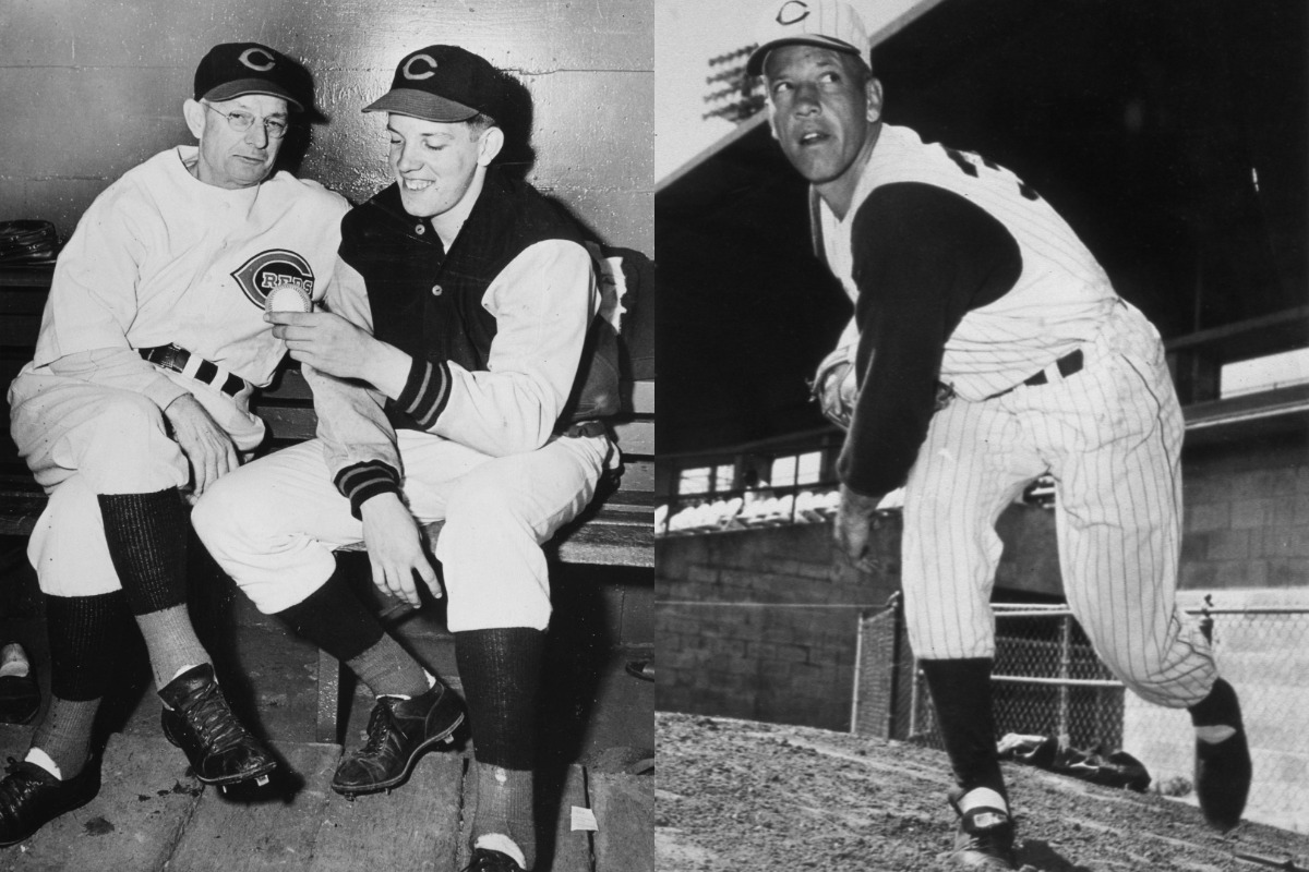 Cincinnati Reds pitcher Joe Nuxhall (jacket) debuted at age 15 in 1944. He grew into a Reds legend when he returned nearly a decade later.