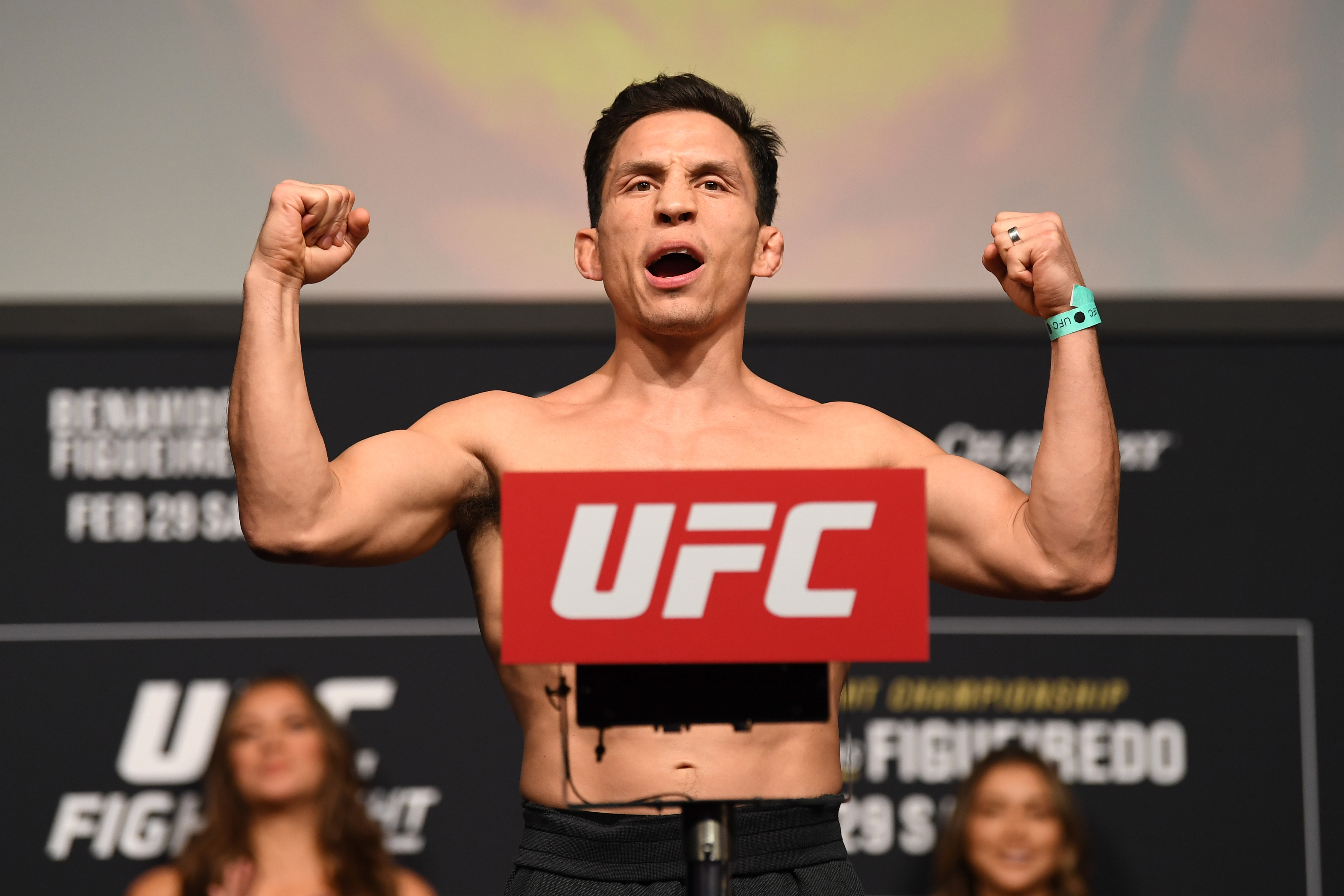 Joseph Benavidez weighing in for a UFC fight