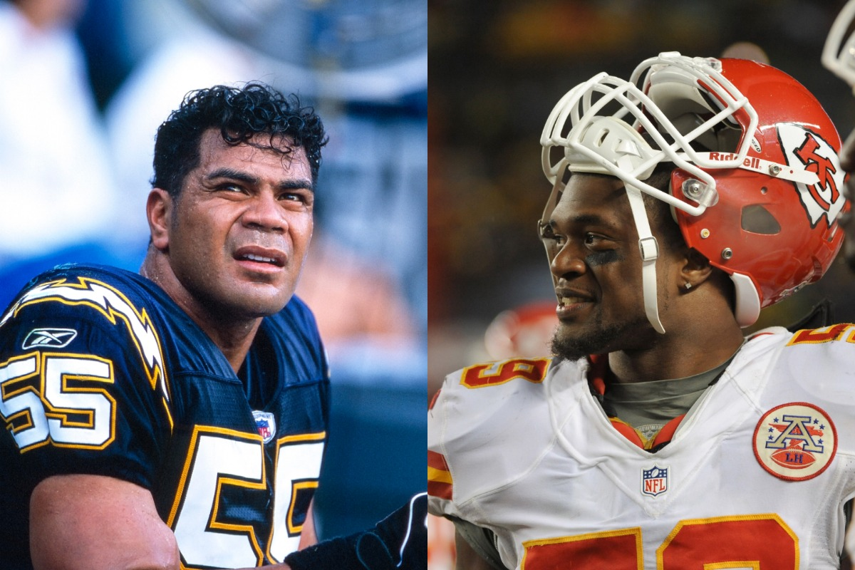 Hall of Fame linebacker Junior Seau (L) and Chiefs linebacker Jovon Belcher each died in 2012.