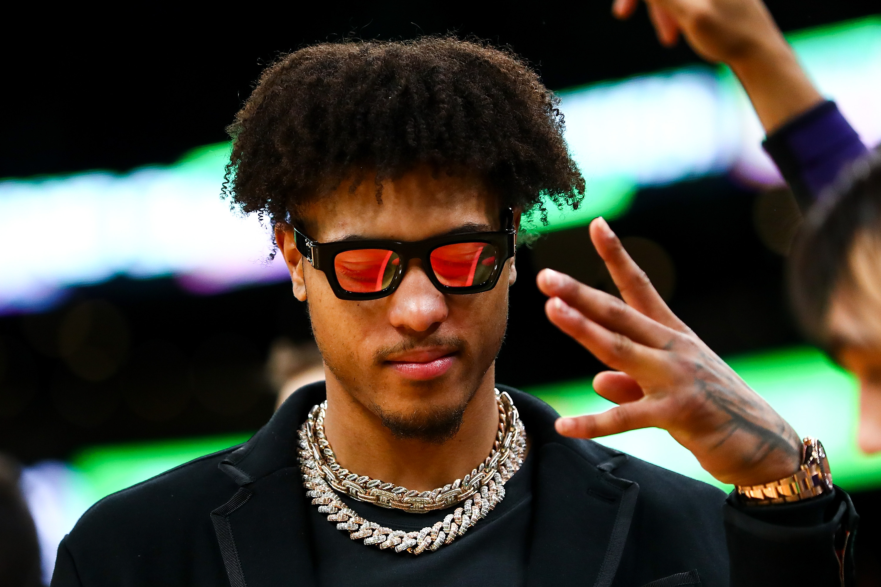 Kelly Oubre Jr. of the Phoenix Suns reacts from the bench