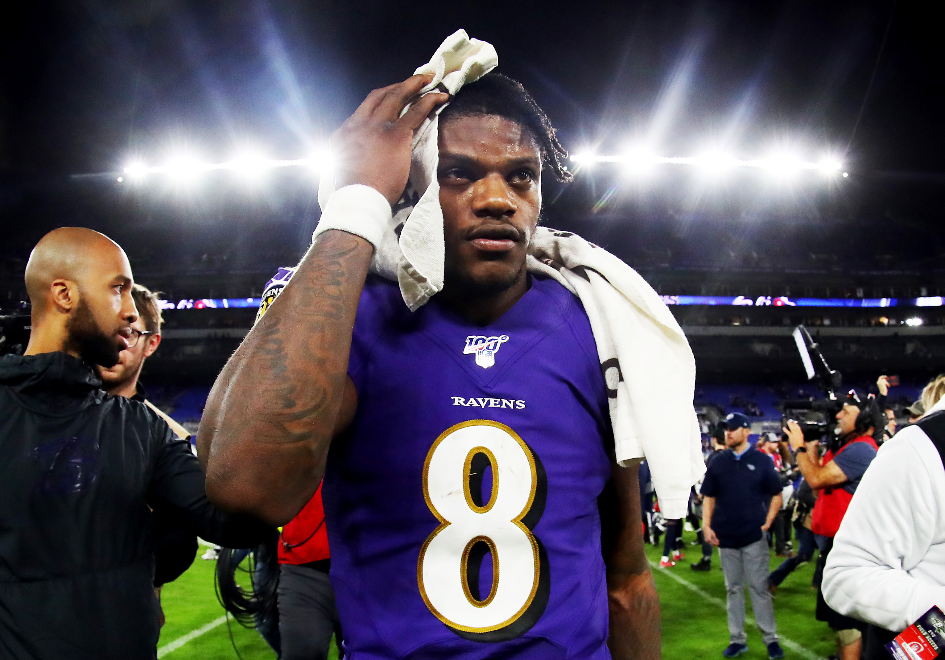 Lamar Jackson walking off the field after a Ravens game