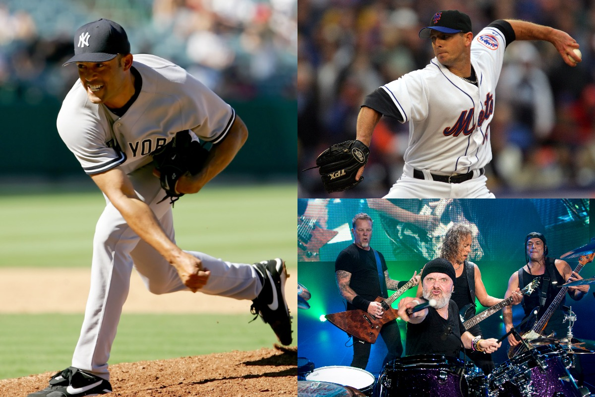 Former New York Yankees closer Mariano Rivera (L) and Mets closer Billy Wagner (upper-right) found themselves in a bizarre feud involving Metallica in 2006.