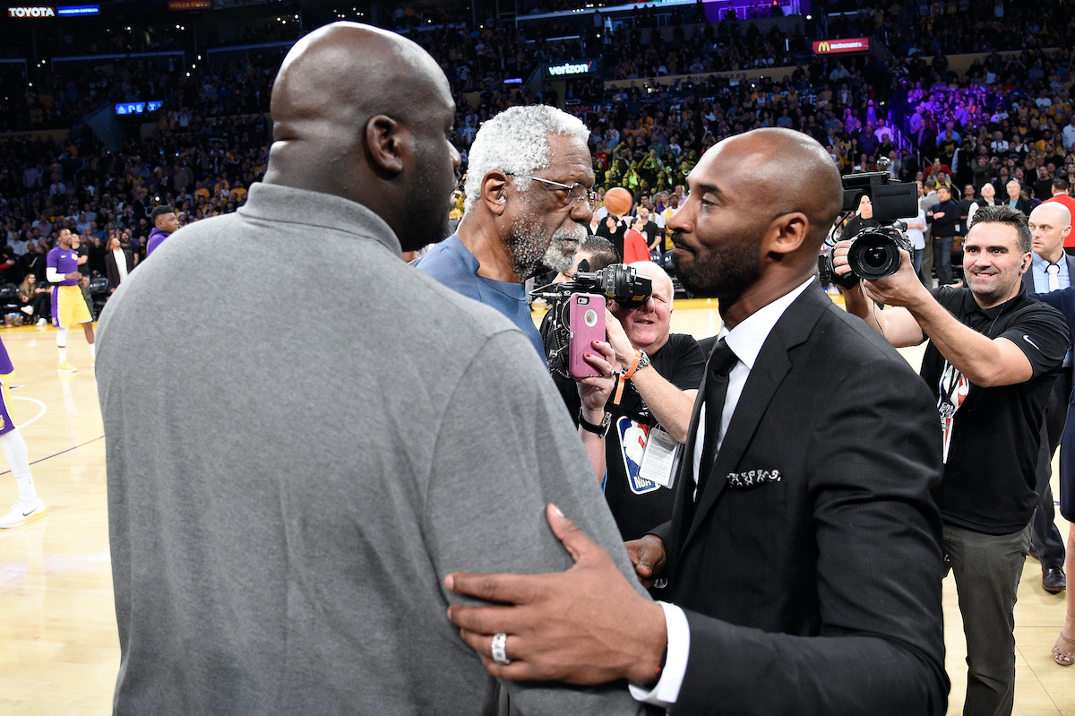 Bill Russell, Shaquille O'Neal, and Kobe Bryant