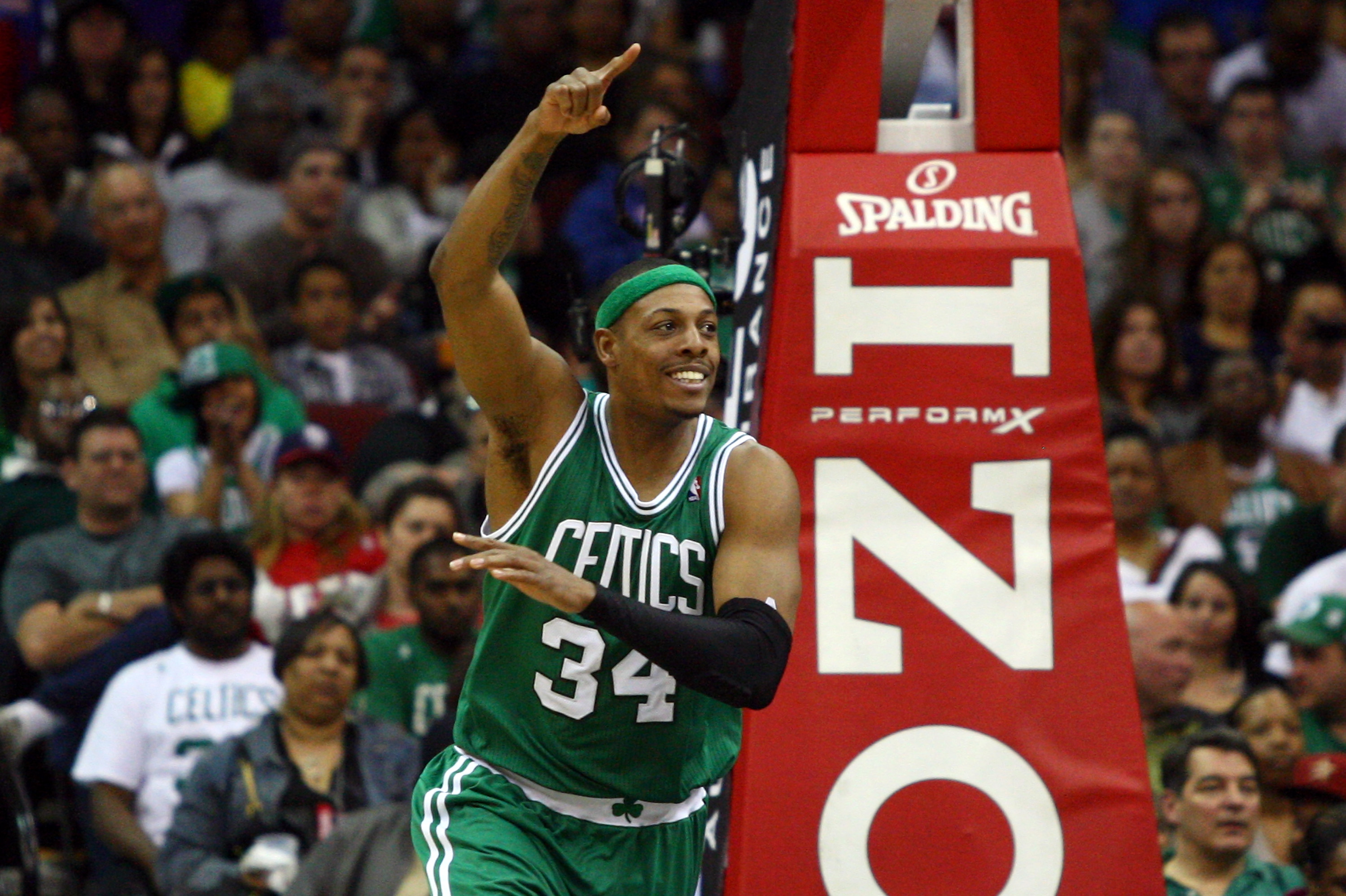 Paul Pierce celebrates after making a shot