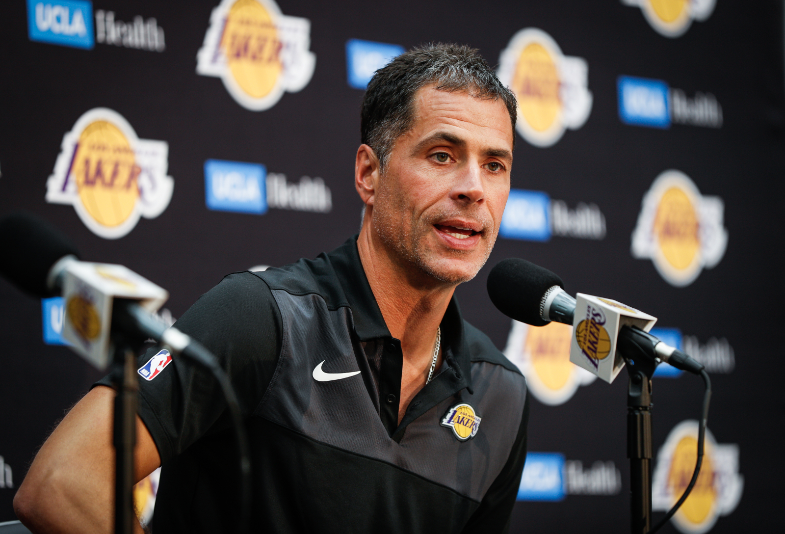 Lakers general manager Rob Pelinka has had a lot of success as an agent and a GM. However, despite his success, he still mops up sweat.