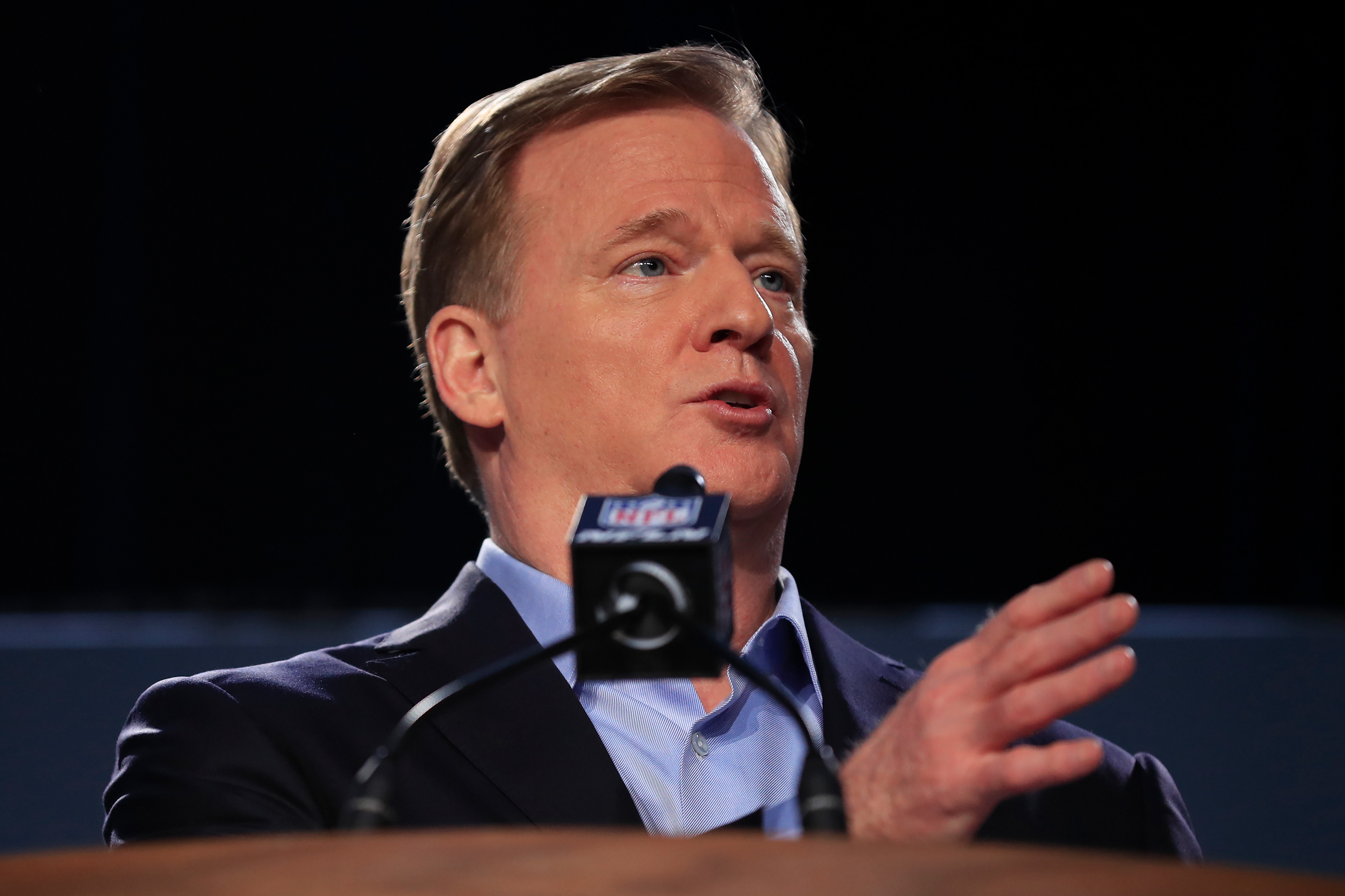 Roger Goodell talking to the media at a press event