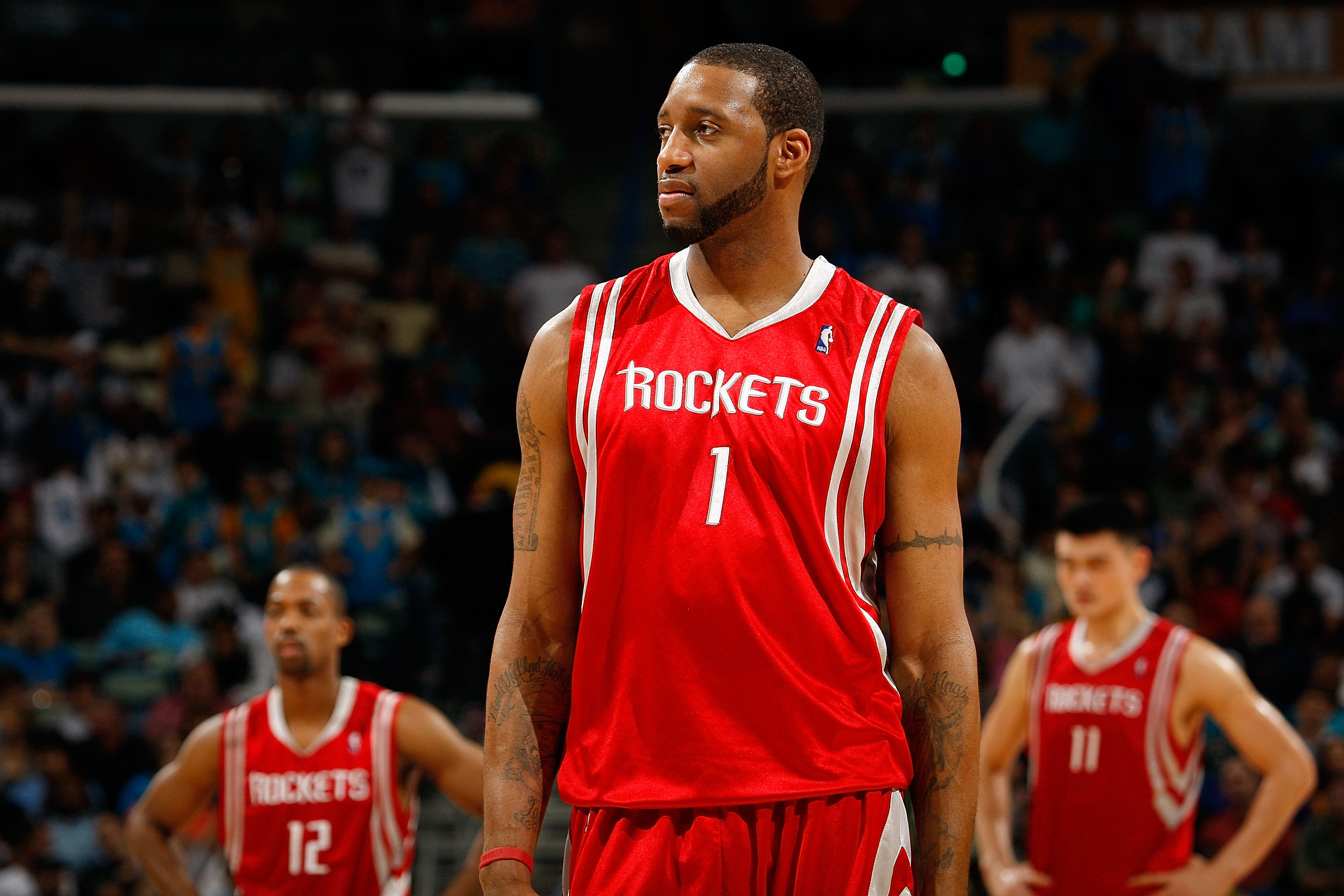 Tracy McGrady walking up the court during a Rockets game