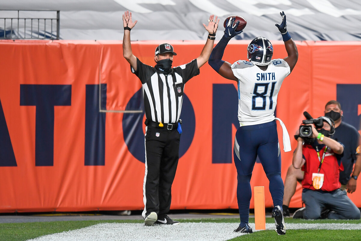 Titans tight end Jonnu Smith, seen celebrating a Week 1 touchdown, has become one of the league's best players at his position.