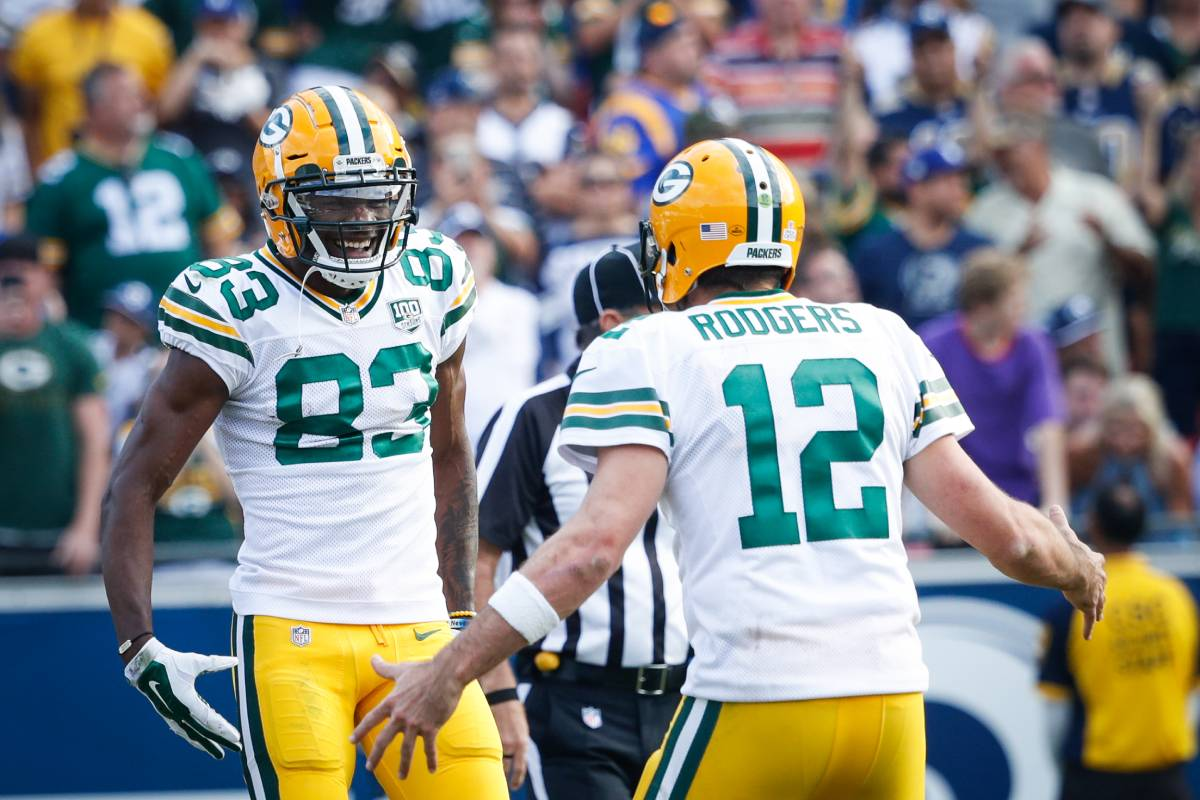 Green Bay Packers quarterback Aaron Rodgers (No. 12) is extremely pleased with receiver Marquez Valdes-Scantling.
