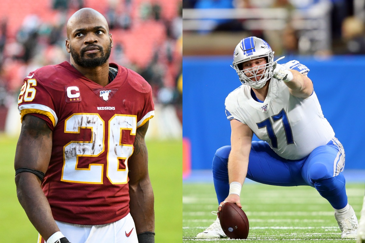 Detroit Lions center Frank Ragnow (R) said he was 'freaking out' when he learned the team signed Adrian Peterson.