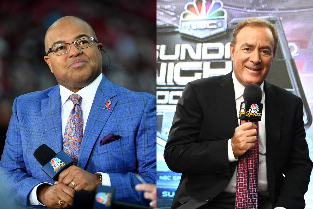Mike Tirico (L) will replace Al Michaels on some of NBC's 'Sunday Night Football' broadcasts this season.