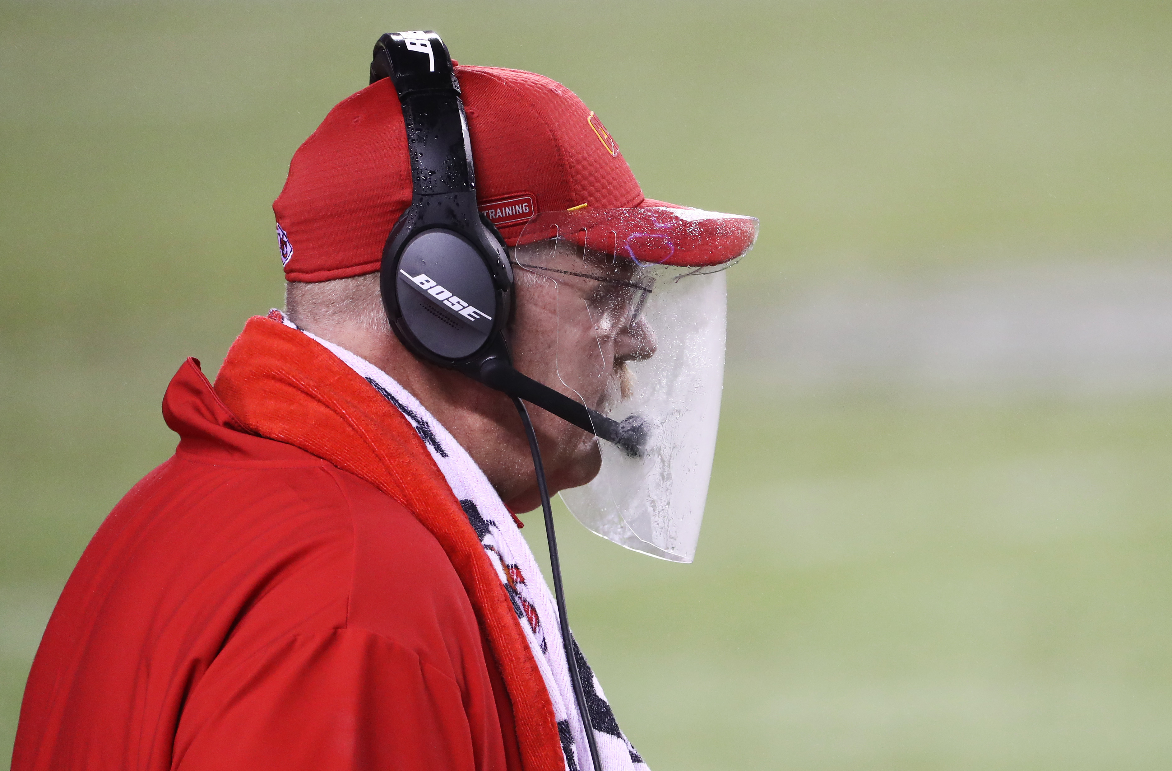 """Kansas City Chiefs head coach Andy Reid went viral for his foggy face shield. Reid promised the look """"will be better next time."""""""