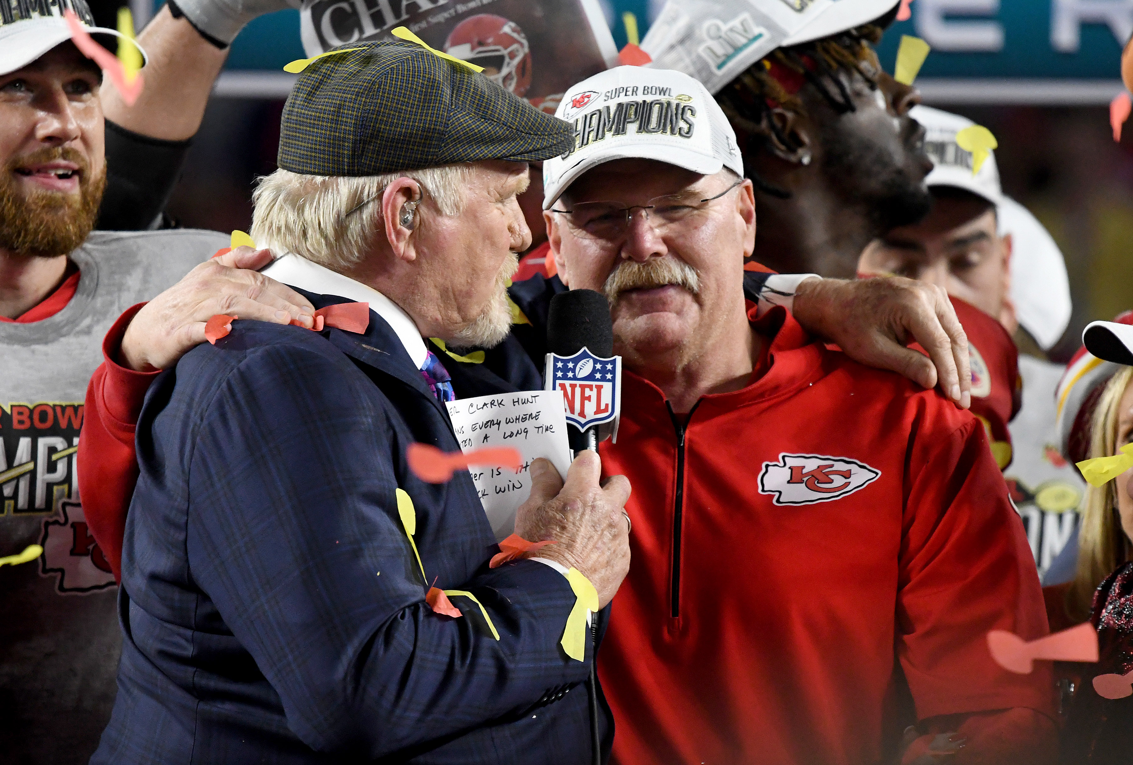 Andy Reid getting interviewed by Terry Bradshaw after winning the Super Bowl