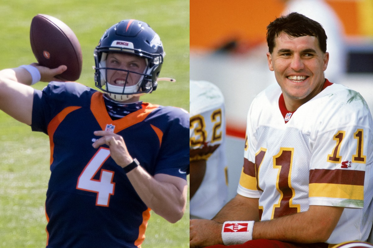 Denver Broncos quarterback Brett Rypien (L) is the nephew of ex-Washington Redskins quarterback Mark Rypien.
