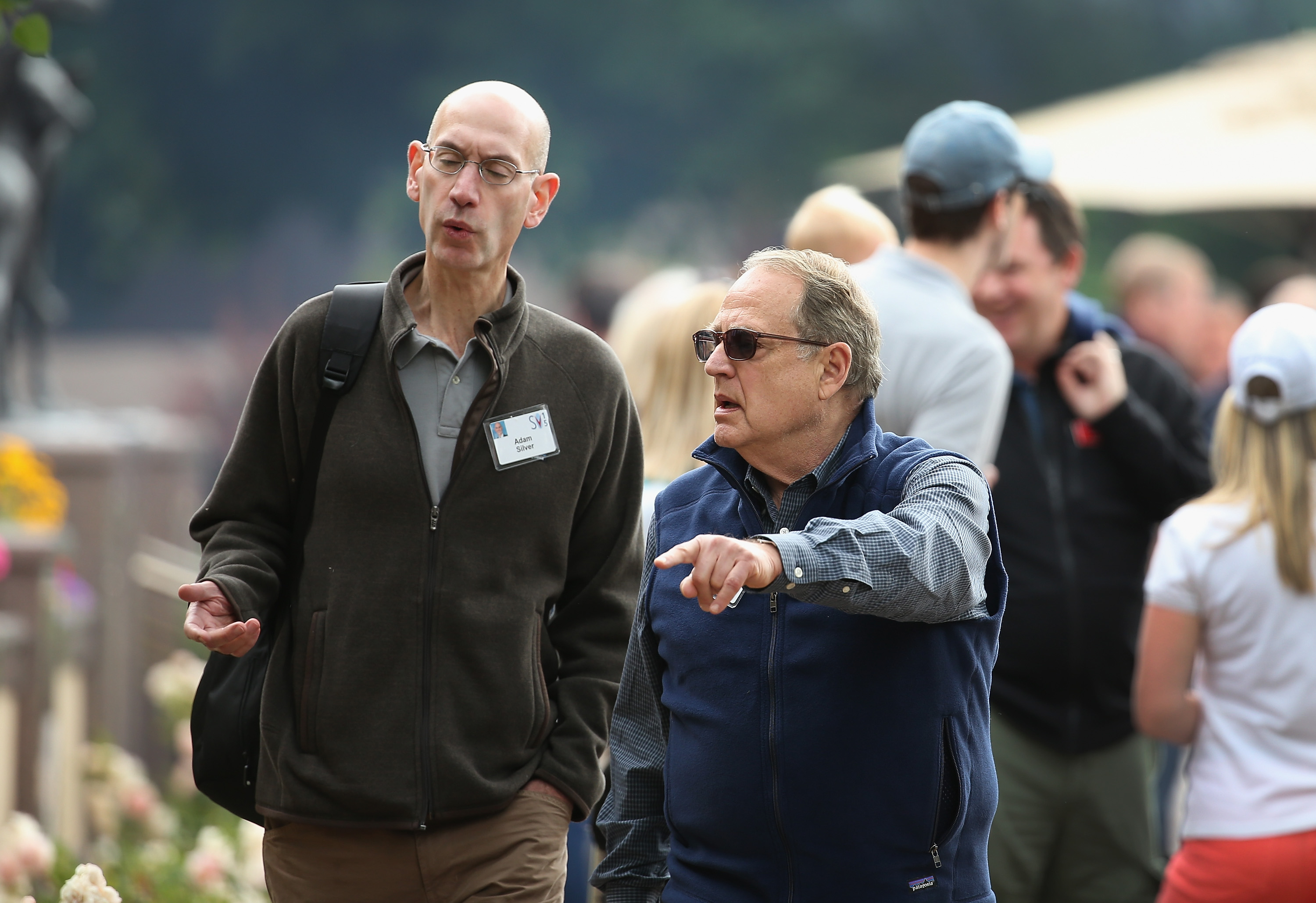 Chicago Bulls owner Jerry Reinsdorf with Adam Silver