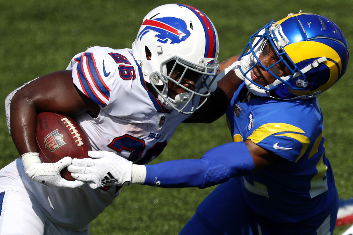 "Buffalo Bills running back Devin ""Motor"" Singletary had an impressive Week 3 outing against the Los Angeles Rams on Sept. 27, 2020."