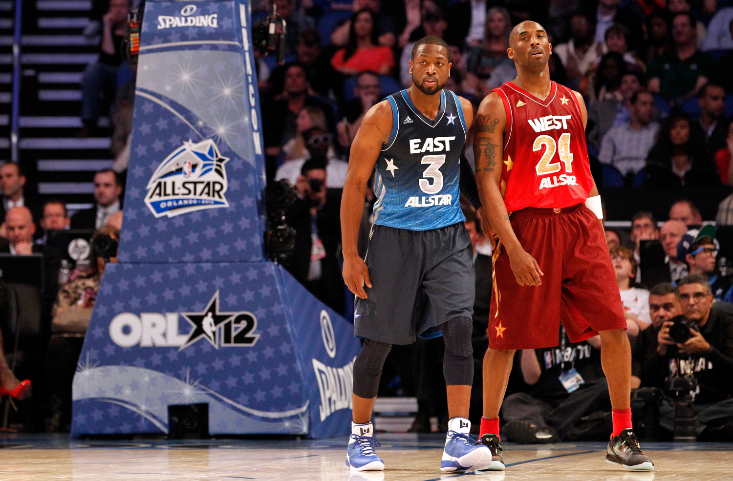 Kobe Bryant and Dwyane Wade had some intense battles against each other on the basketball court. One time, Wade even broke Bryant's nose.