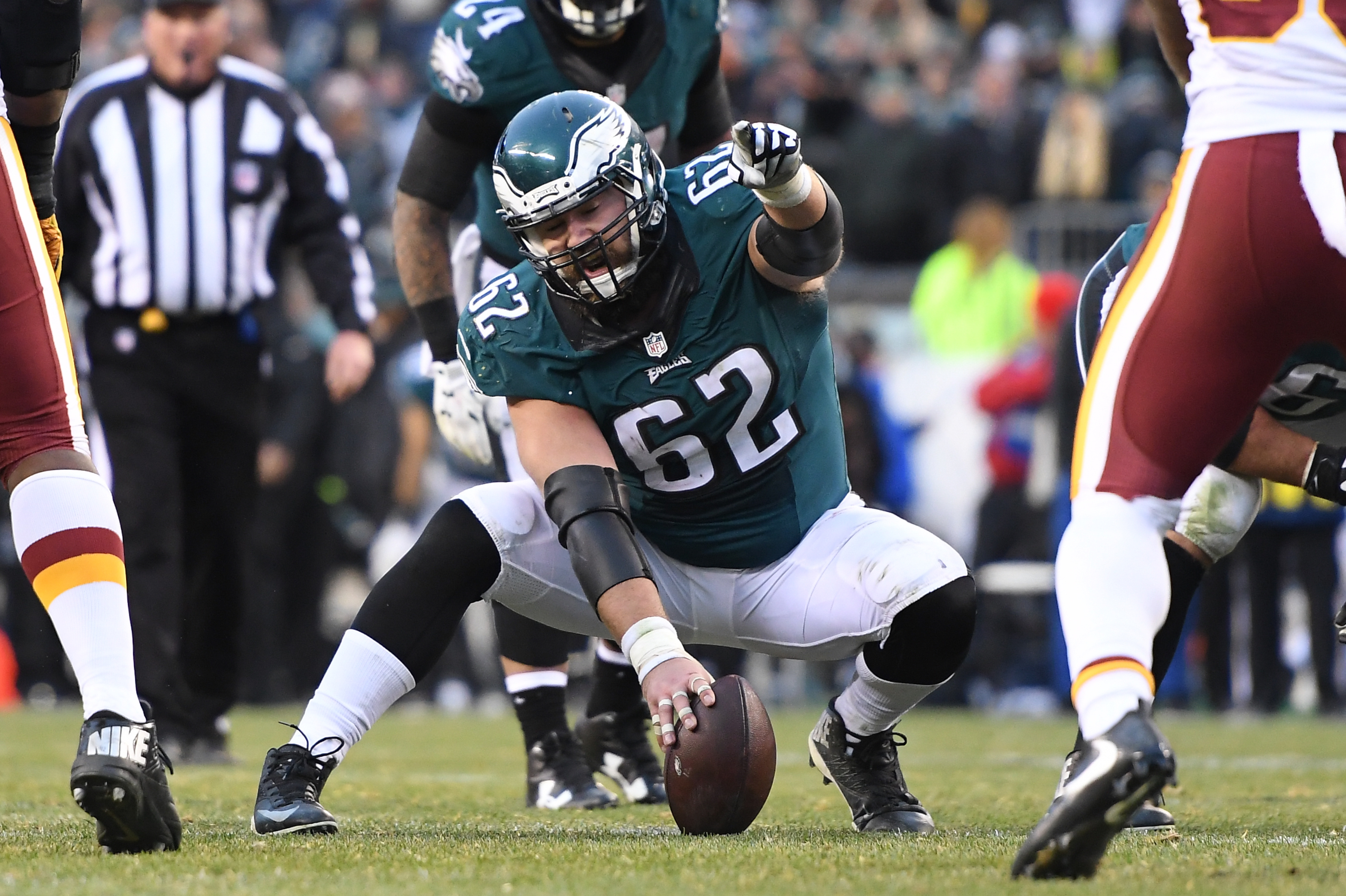 Jason Kelce pointing out an opposing player during a game
