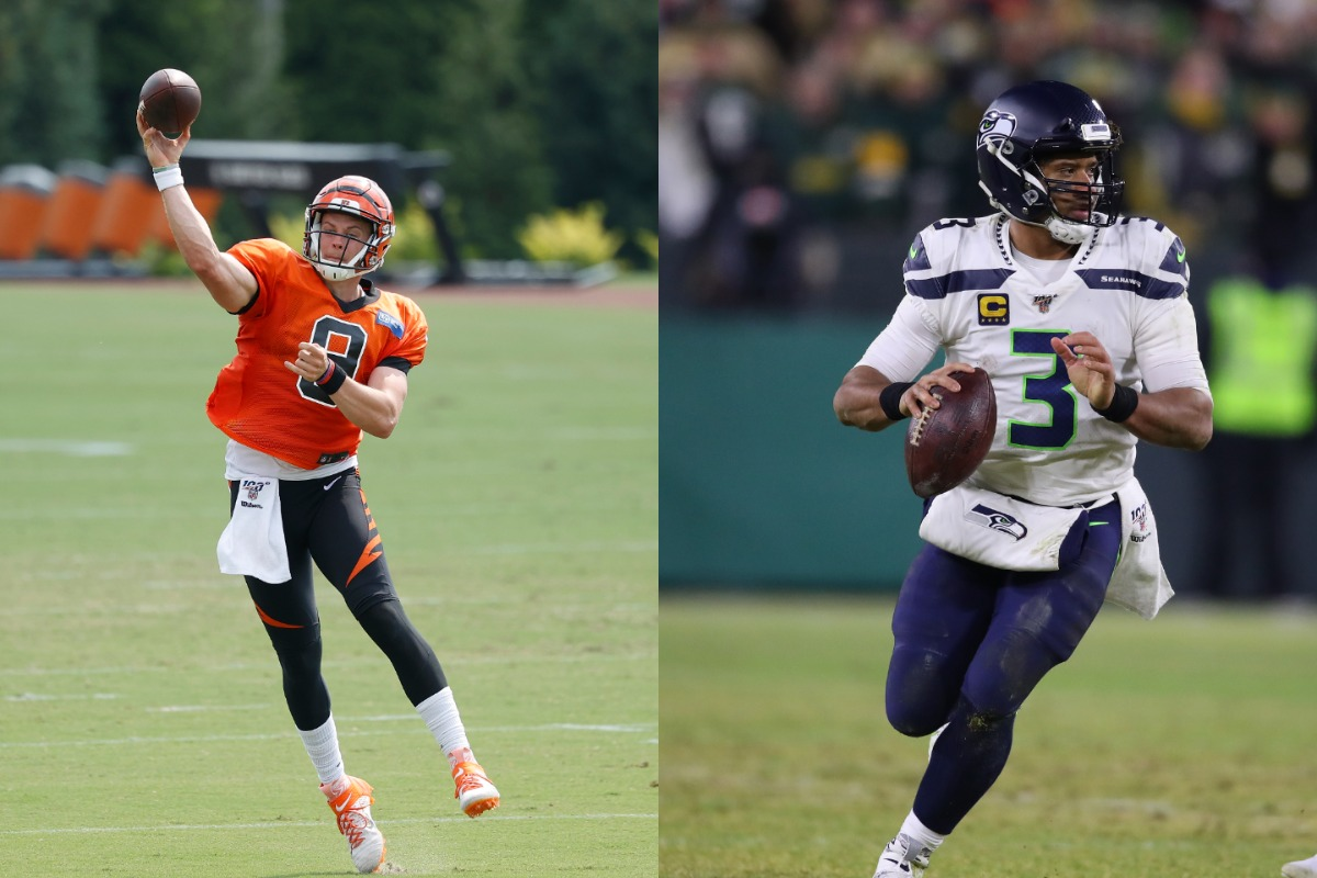 Bengals rookie quarterback Joe Burrow (L) is already drawing comparisons to Seahawks legend Russell Wilson.