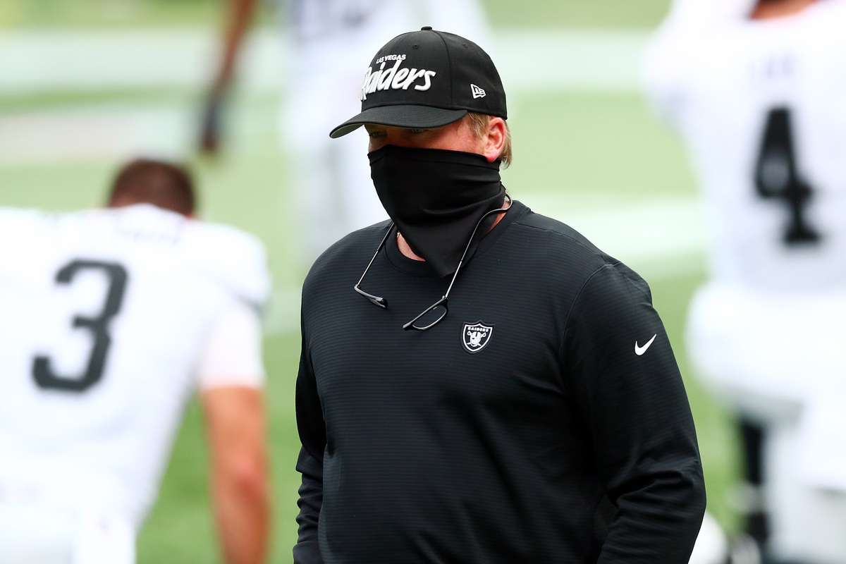 Beneath his mask, Raiders coach Jon Gruden may be frowning at how many injuries his team had, especially with regBeneath his mask, Raiders coach Jon Gruden may be frowning at how many injuries his team had, especially with regard to his receivers. ard to his receivers.