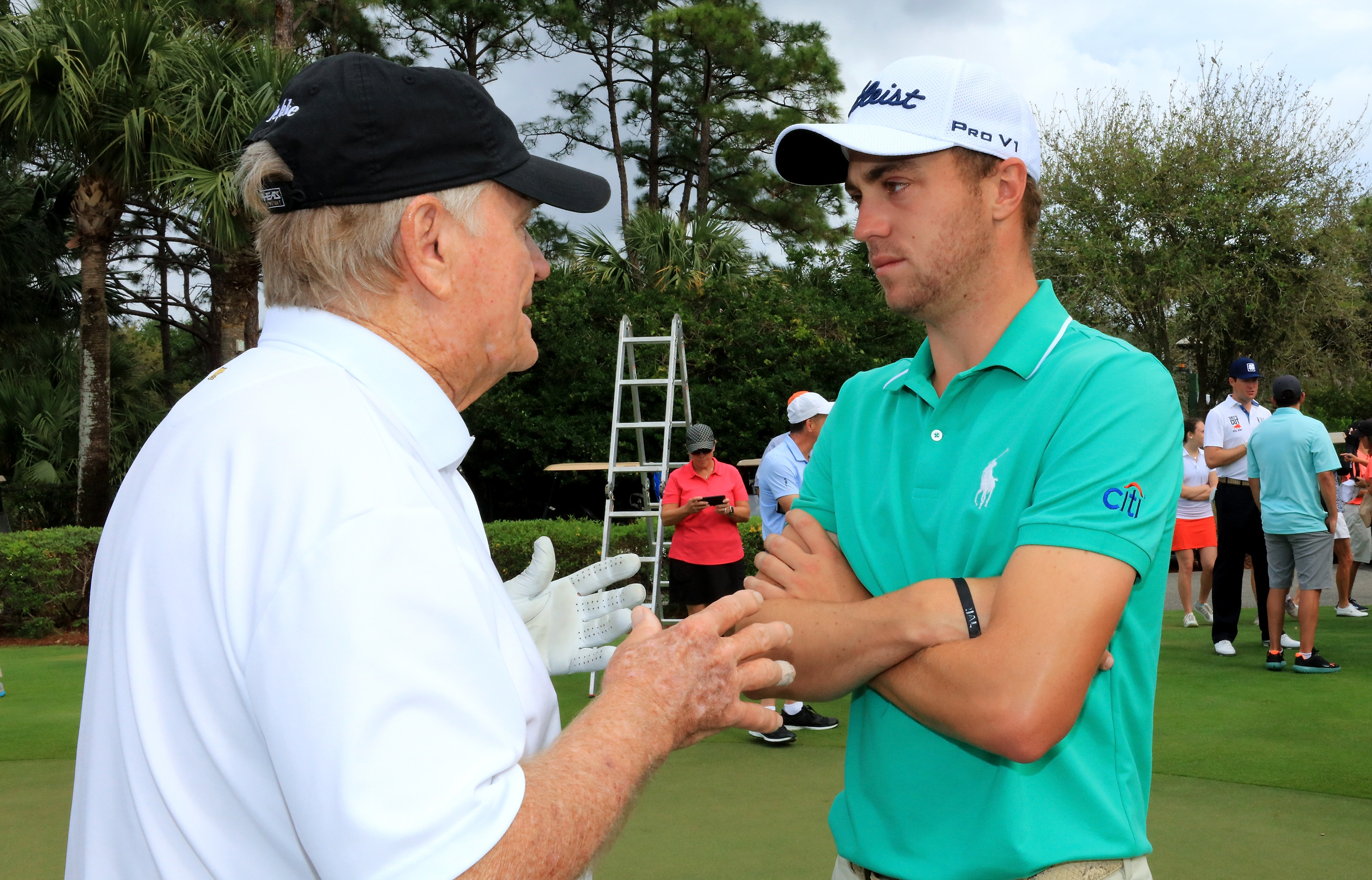 Golfers Justin Thomas and Jack Nicklaus