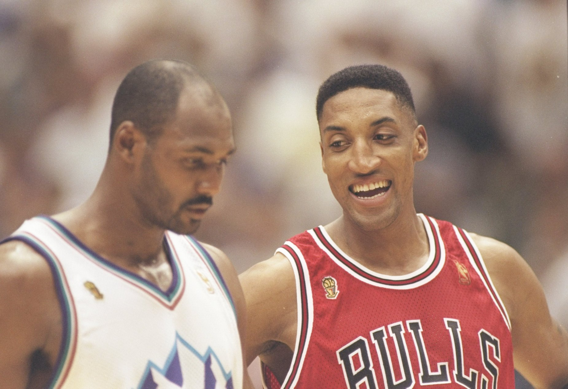 During his time with the Utah Jazz, Karl Malone had some memorable duels with Scottie Pippen and Michael Jordan.