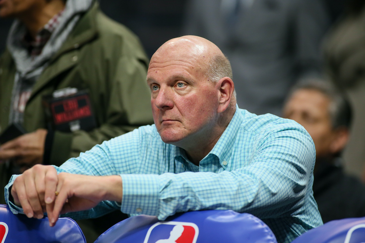 Clippers owner Steve Ballmer watching his team warm up