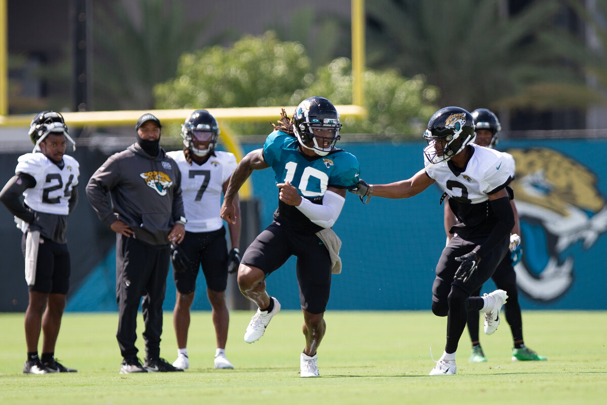 Jacksonville Jaguars rookie Laviska Shenault Jr. (teal) could be the team's savior on offense -- wherever he plays.