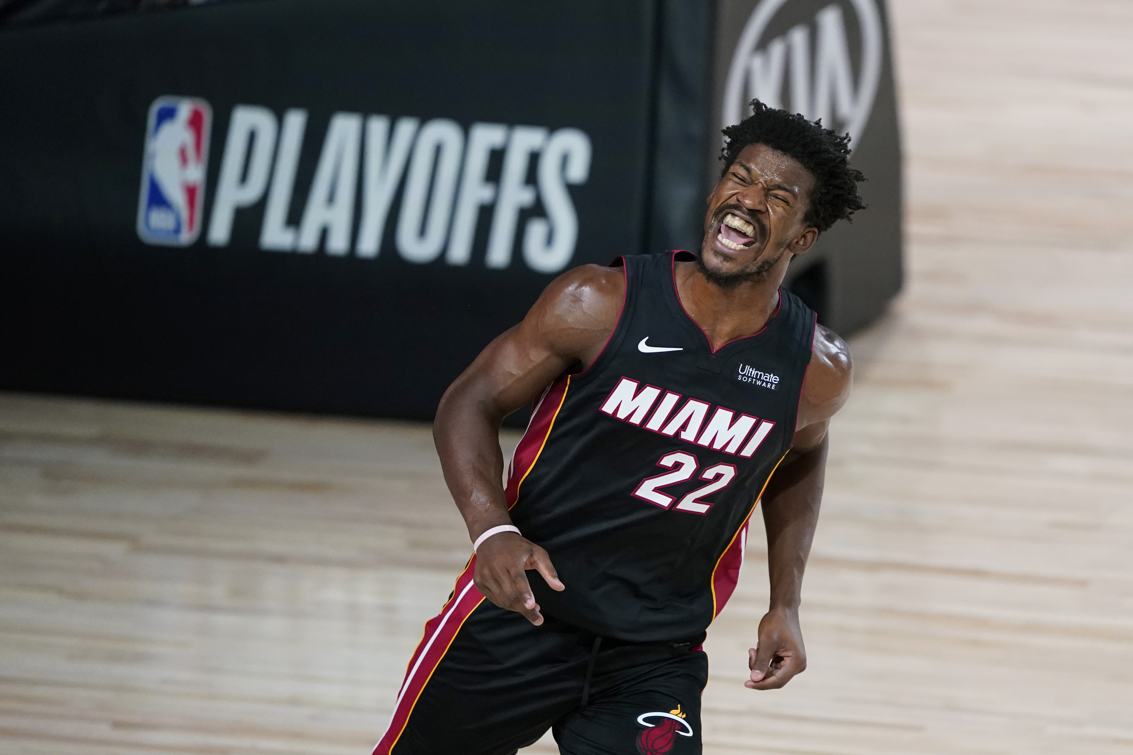 Jimmy Butler celebrates after making a good play