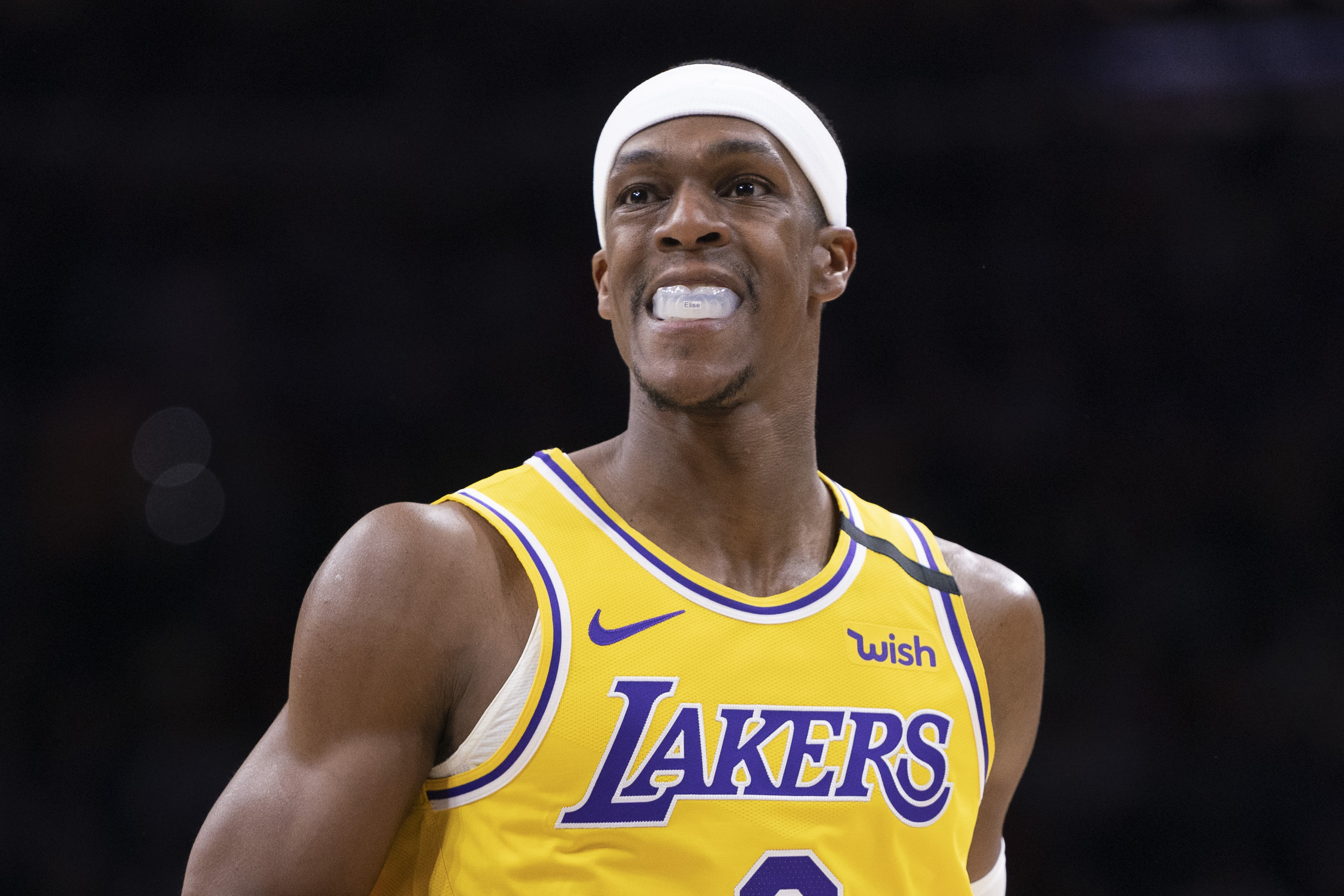 Rajon Rondo looks on during a Lakers game