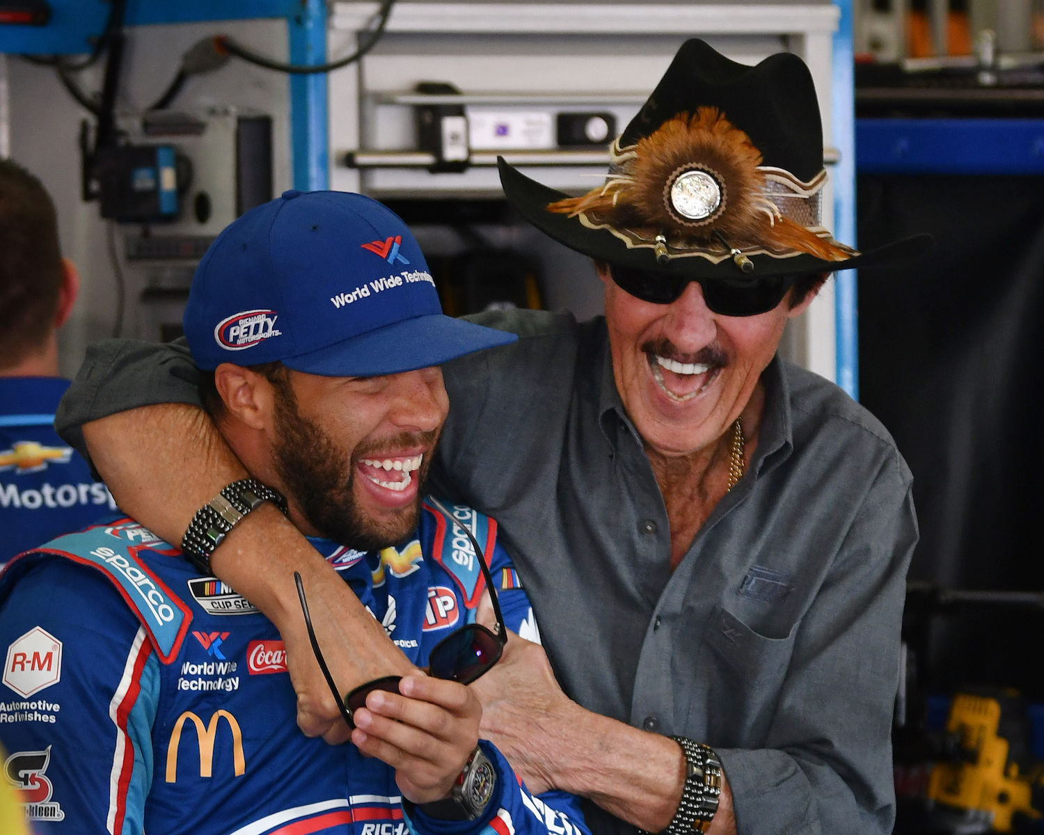 NASCAR Cup Series driver Bubba Wallace with car owner Richard Petty
