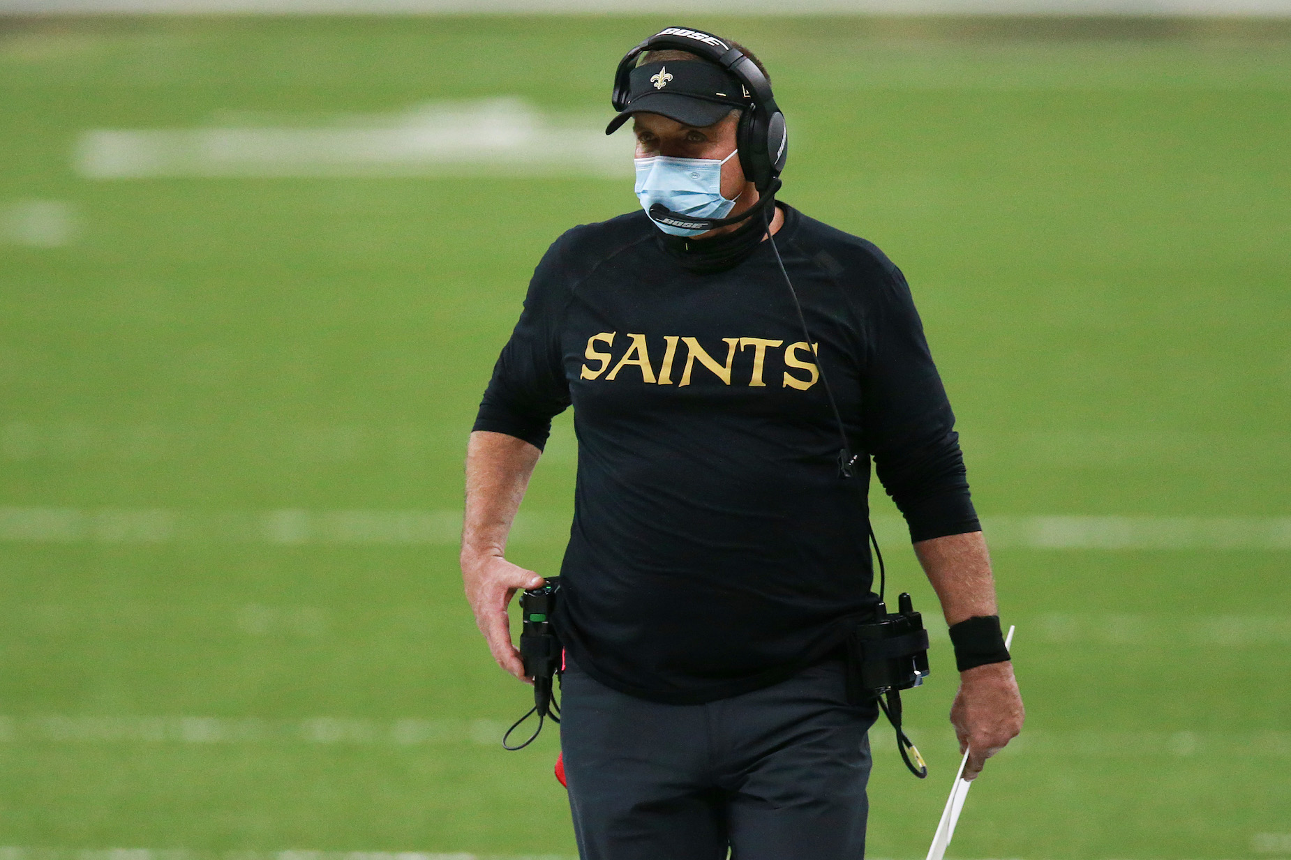 Sean Payton is using a $2 face mask to avoid future fines from Roger Goodell.